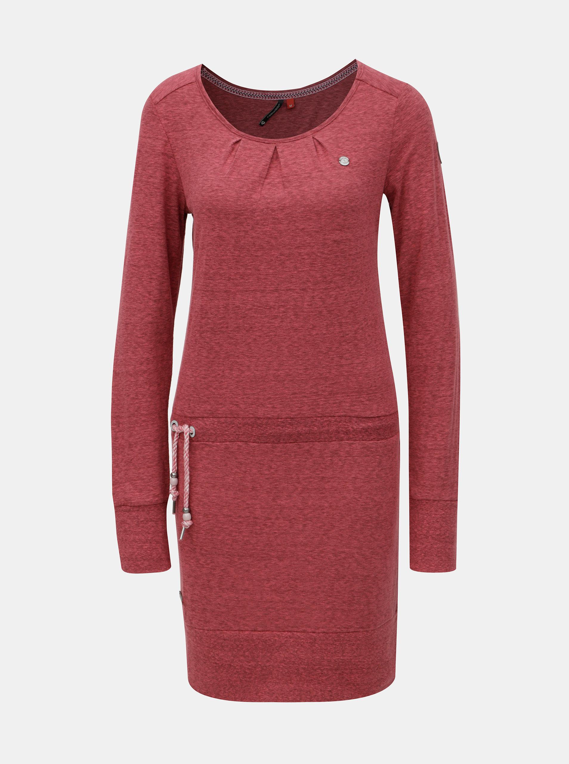 Červené melírované šaty s dlhým rukávom a zaväzovaním Ragwear Alexa ... 99806bdb013