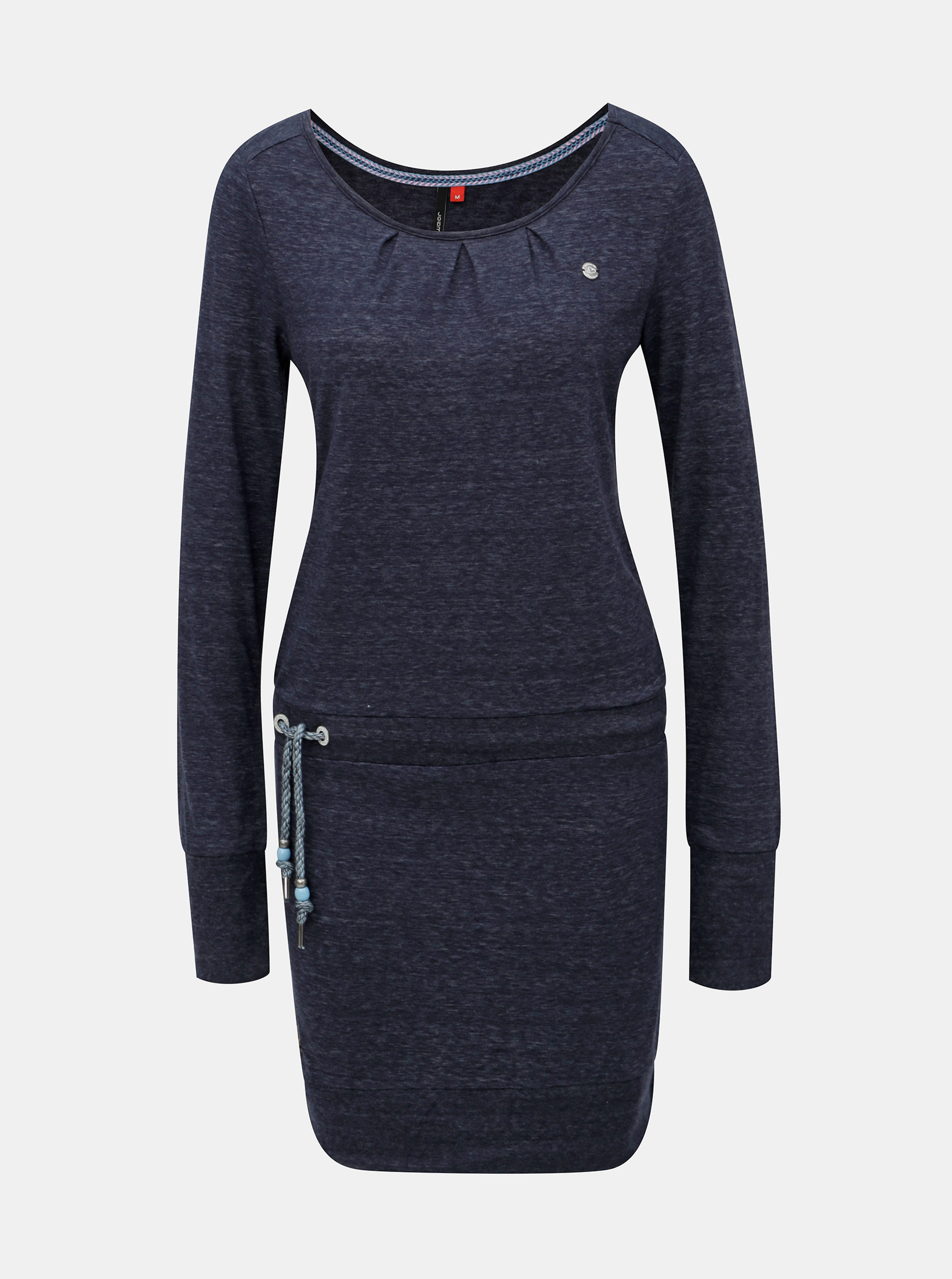 Tmavomodré melírované šaty s dlhým rukávom a zaväzovaním Ragwear Alexa ... d2a9455788f
