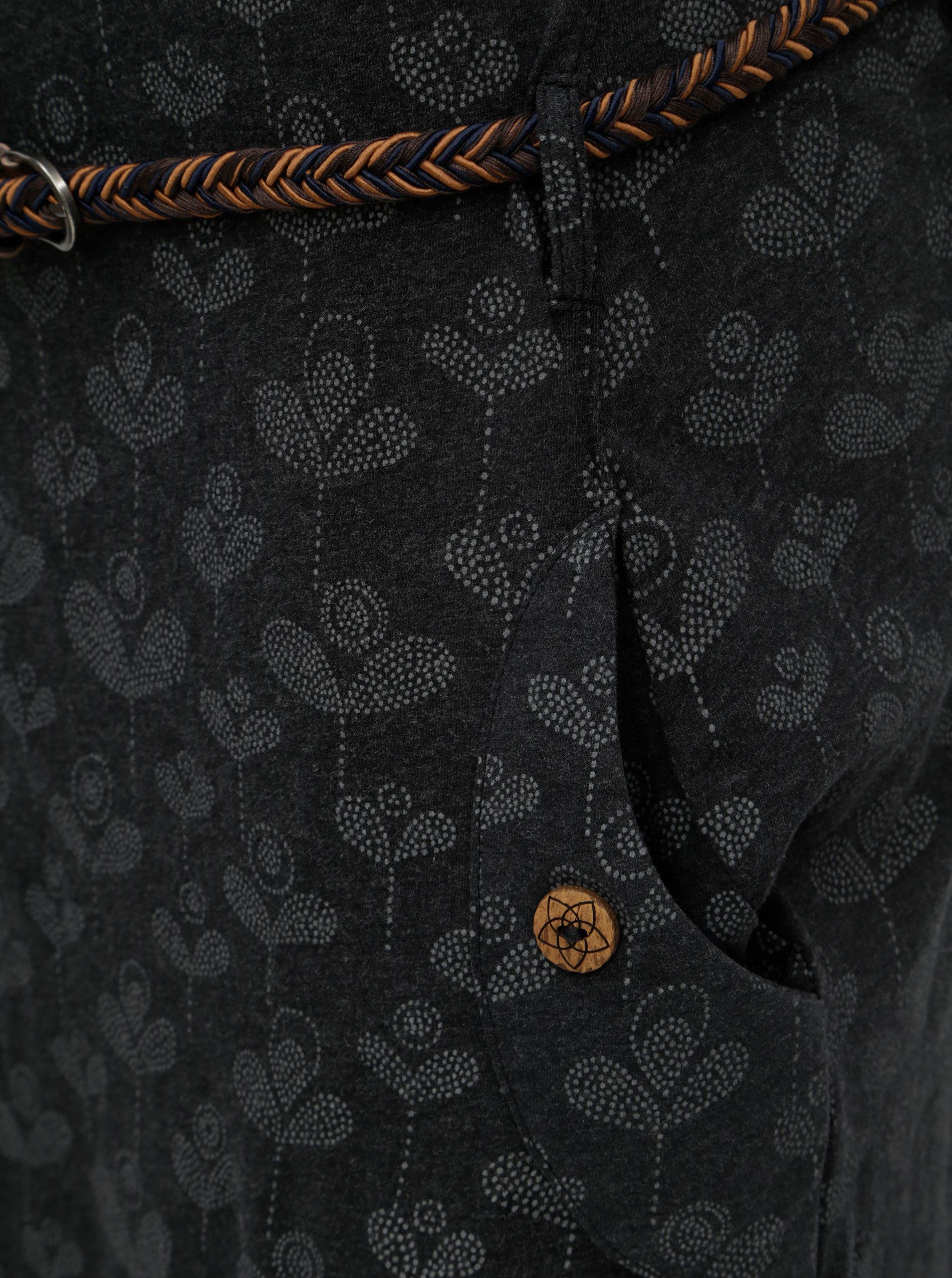 8a40632133d2 Sivé vzorované šaty s opaskom a vreckami Ragwear Tanya ...