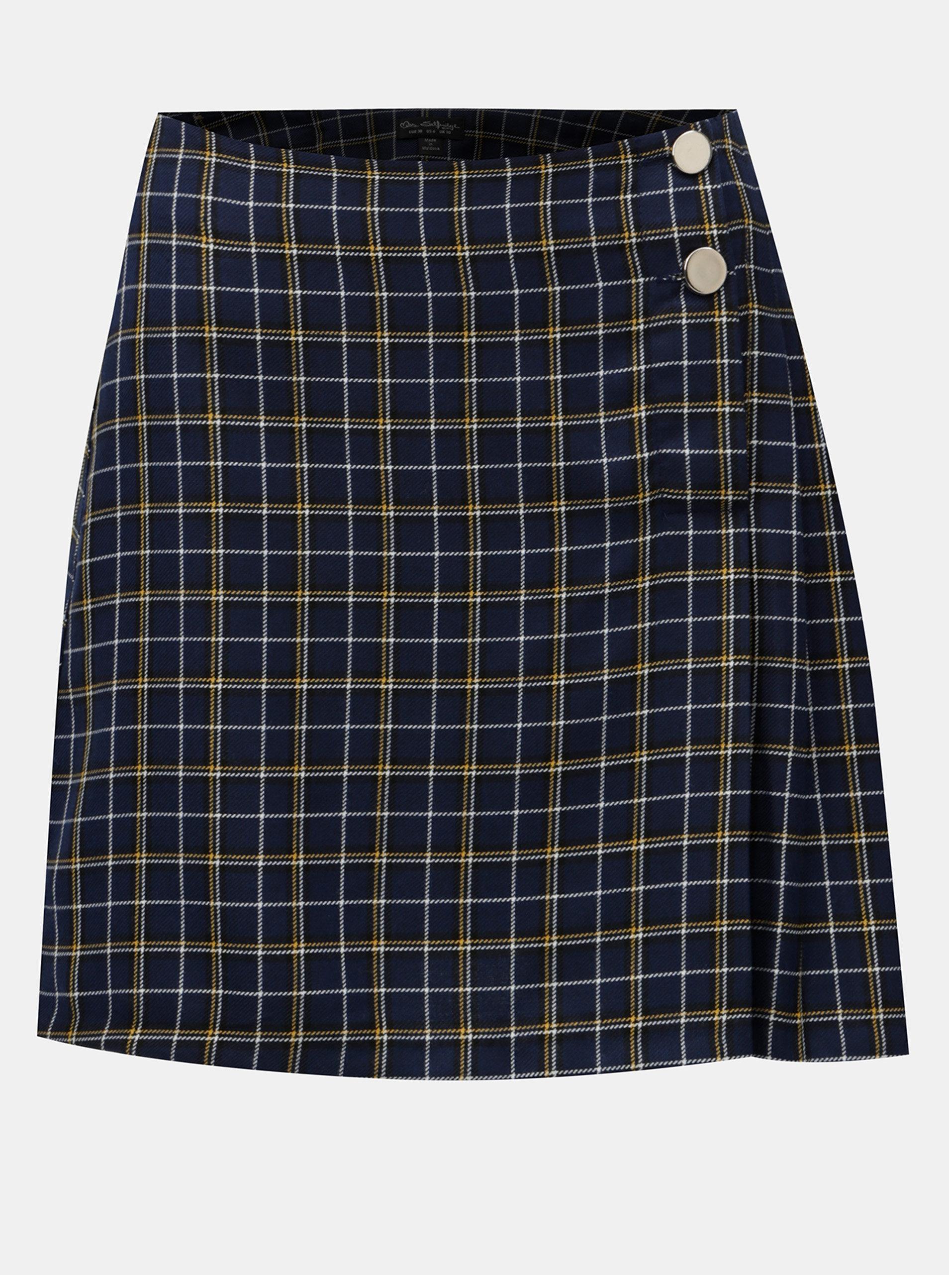 Tmavě modrá kostkovaná sukně s knoflíky Miss Selfridge
