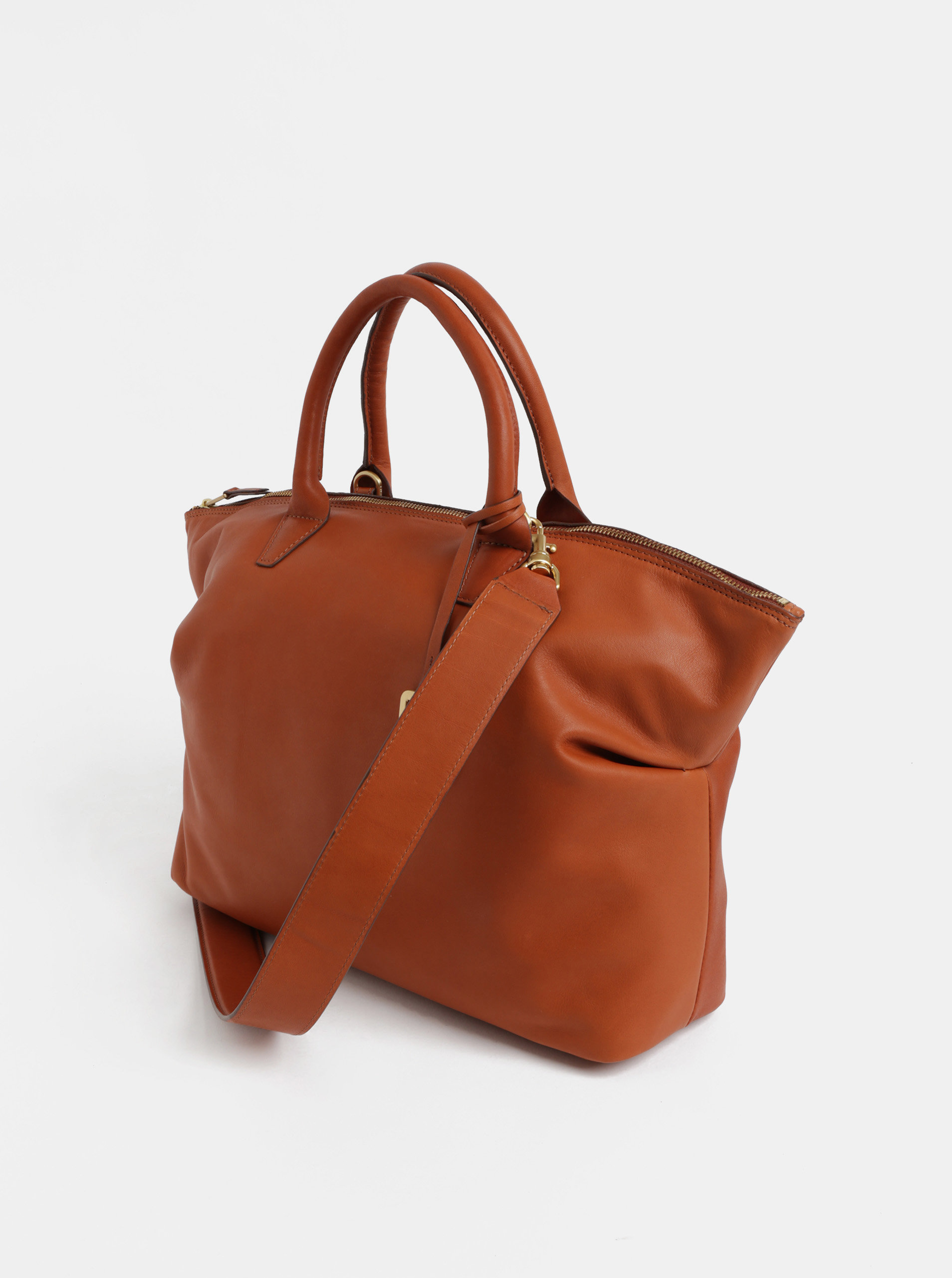8255cbfae5 Hnědá velká kožená kabelka do ruky BREE Stockholm 37 ...