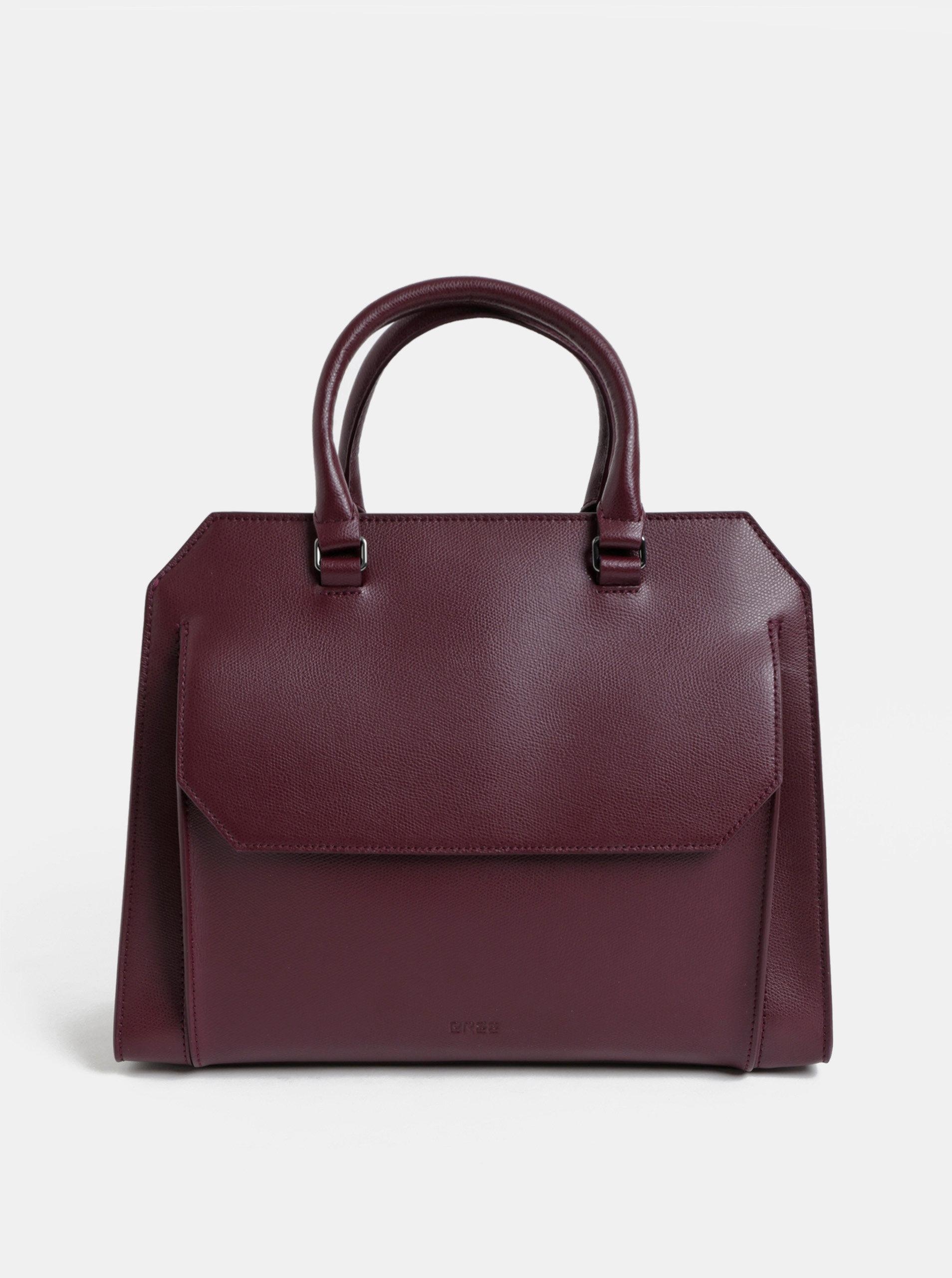 Vínová kožená kabelka s kapsou BREE Cambridge 13