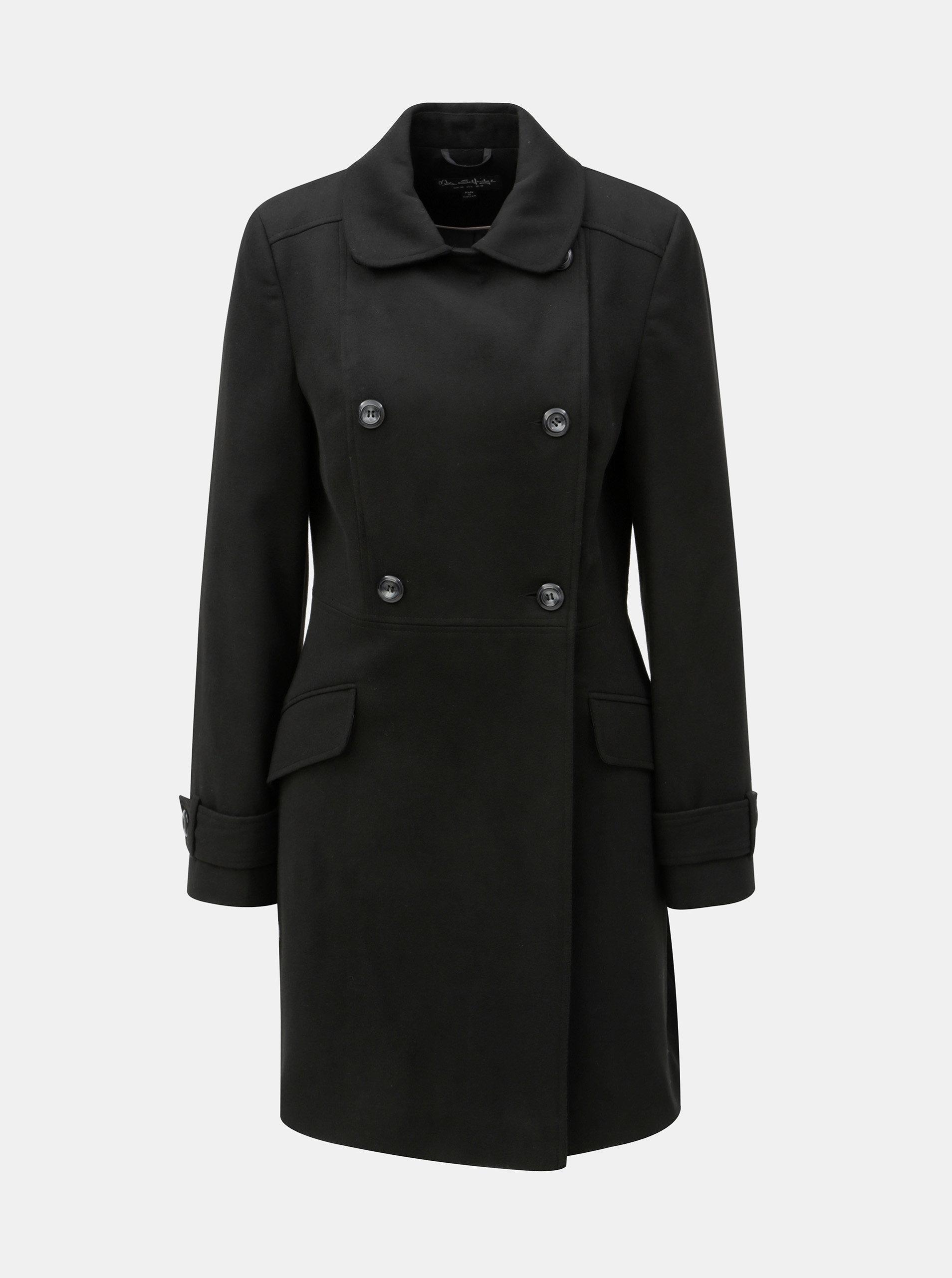 Černý kabát s knoflíky Miss Selfridge