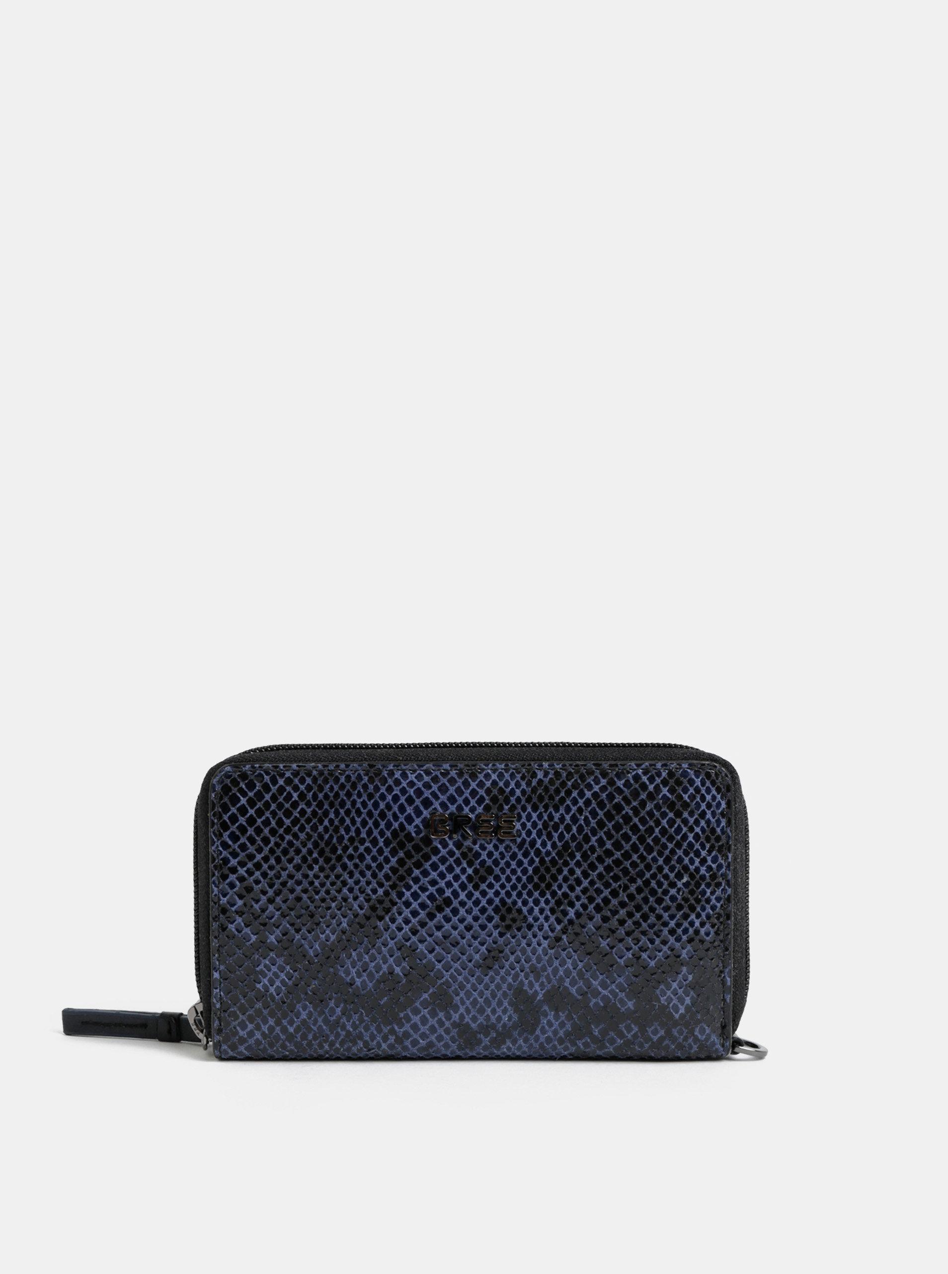 Modro-černá kožená malá peněženka  BREE Issy 134