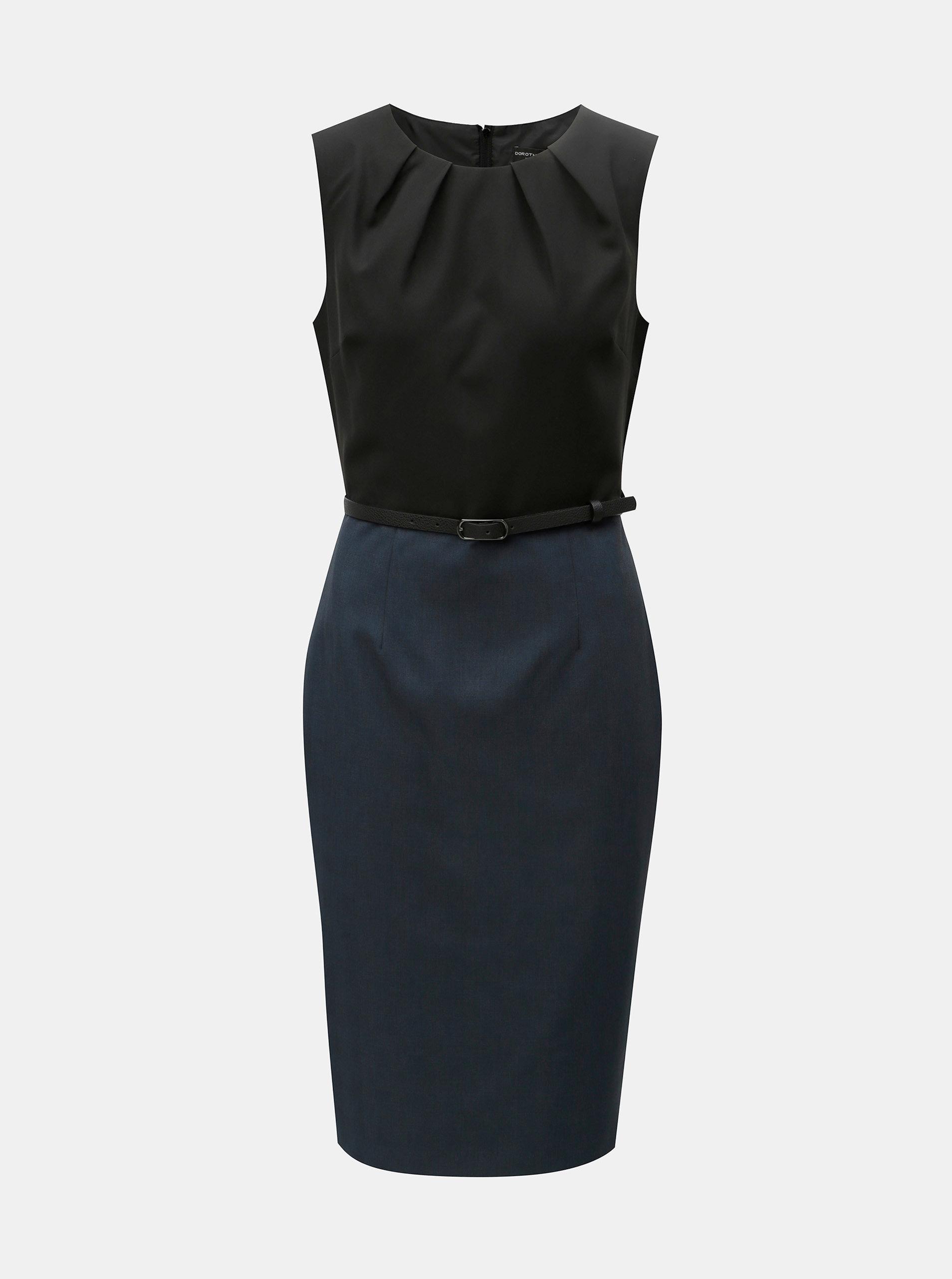 Čierno-modré puzdrové šaty s odnímateľným opaskom Dorothy Perkins ... f97bb42dd99