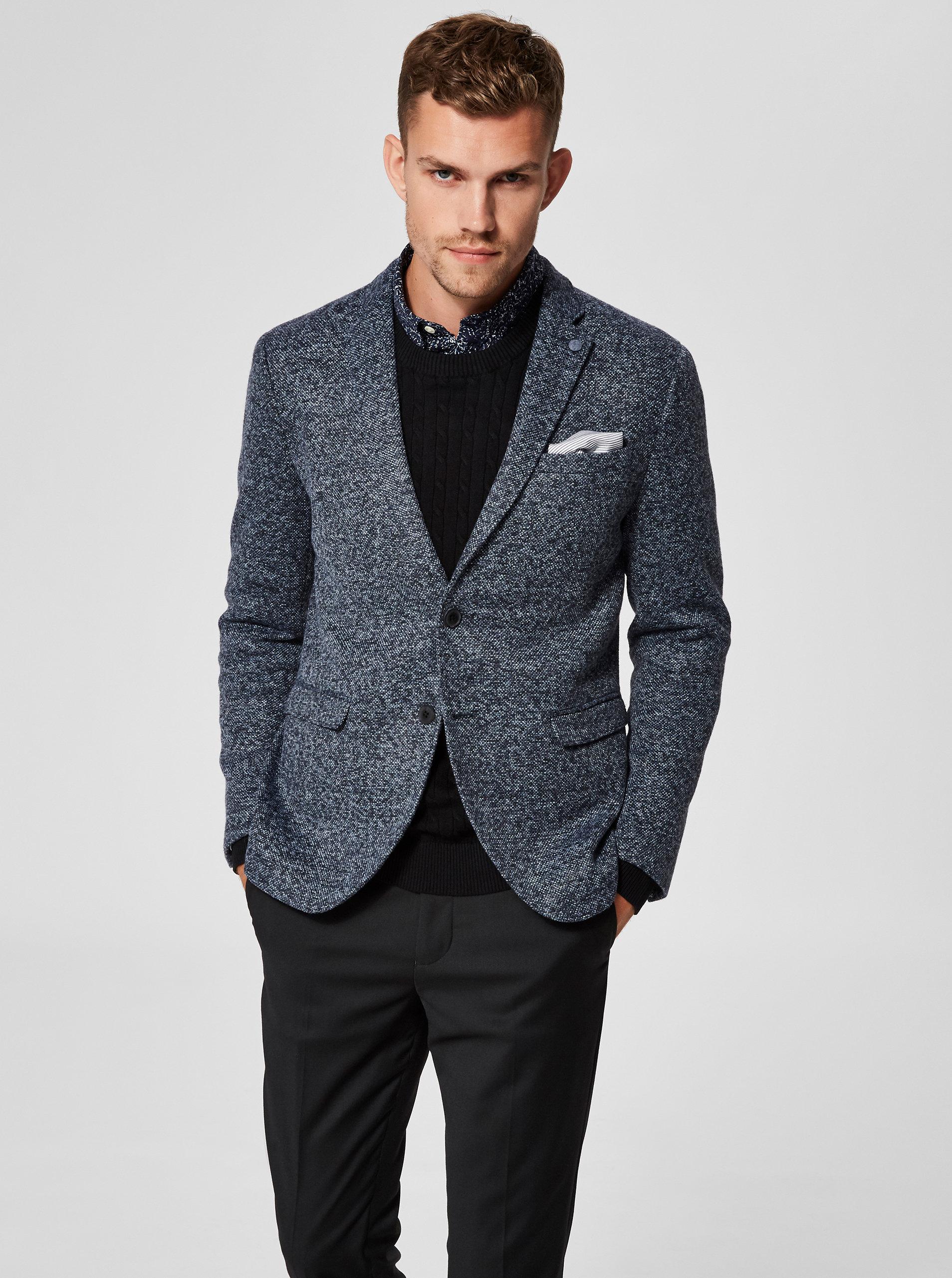 Tmavě modré žíhané sako s náprsní kapsou Selected Homme Magnum