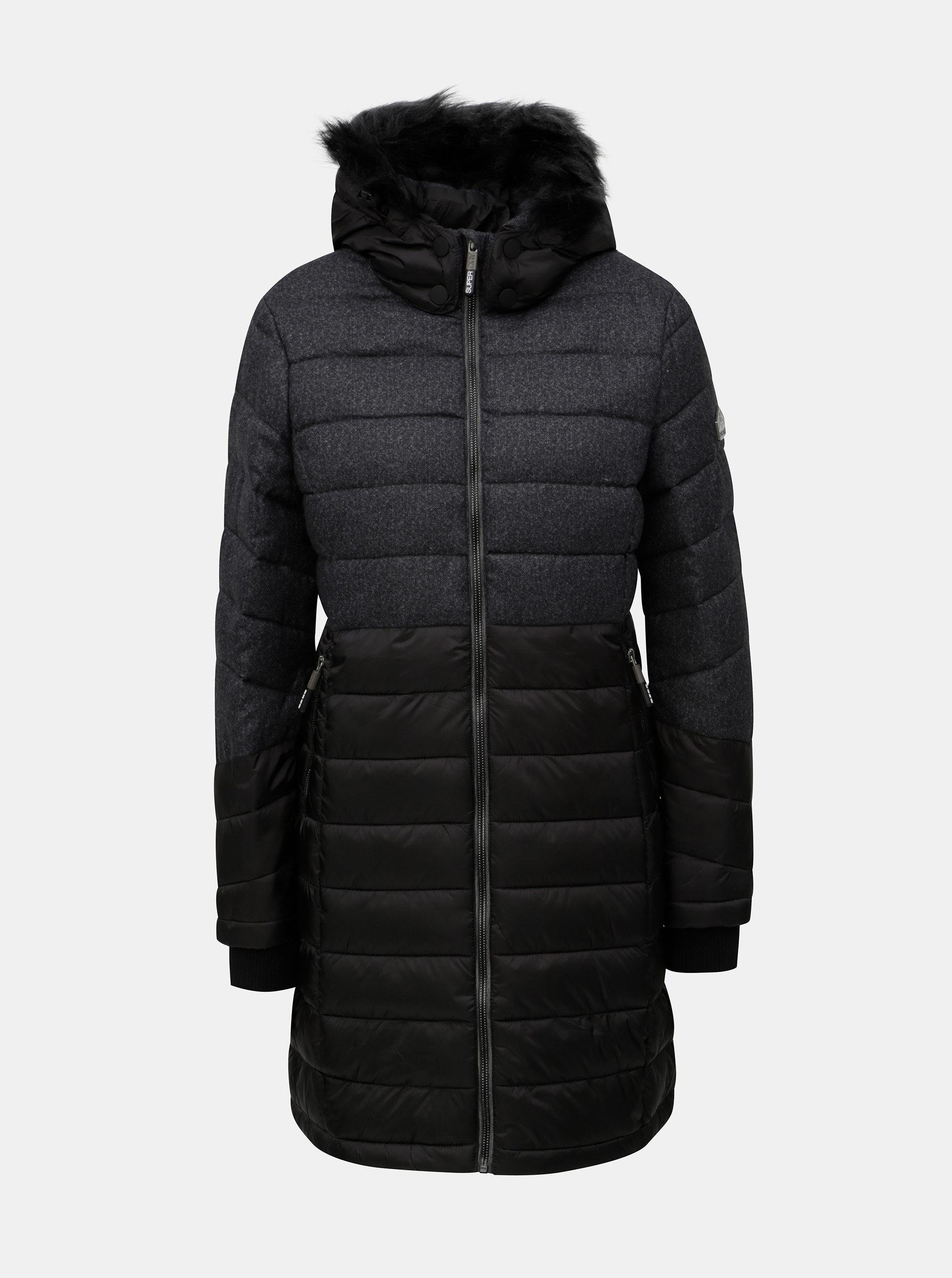 b0fea22f516 Šedo-černý dámský kabát s kapucí a umělým kožíškem Superdry ...