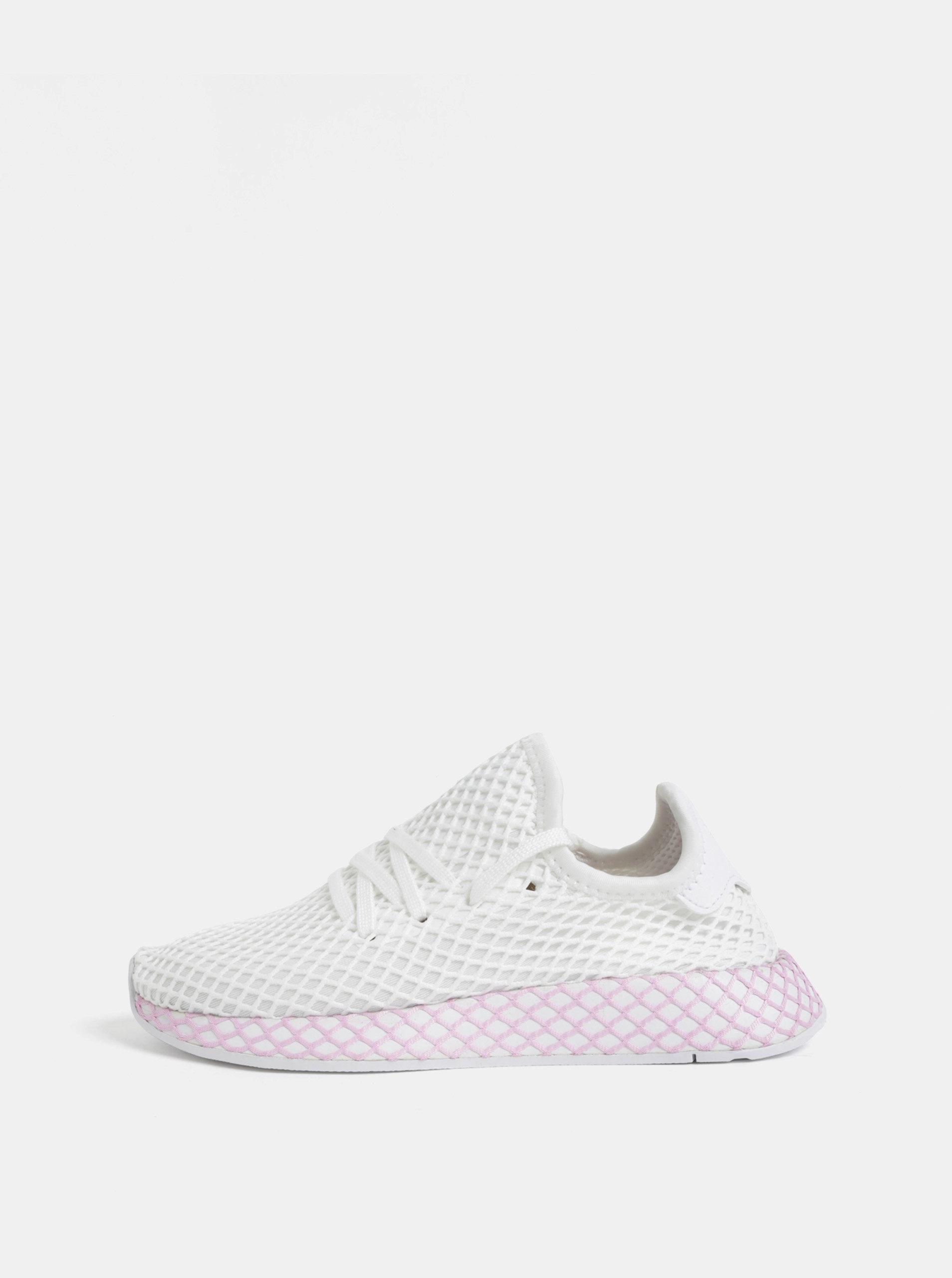 Růžovo-bílé dámské síťované tenisky adidas Originals Deerupt ... 976bd89656