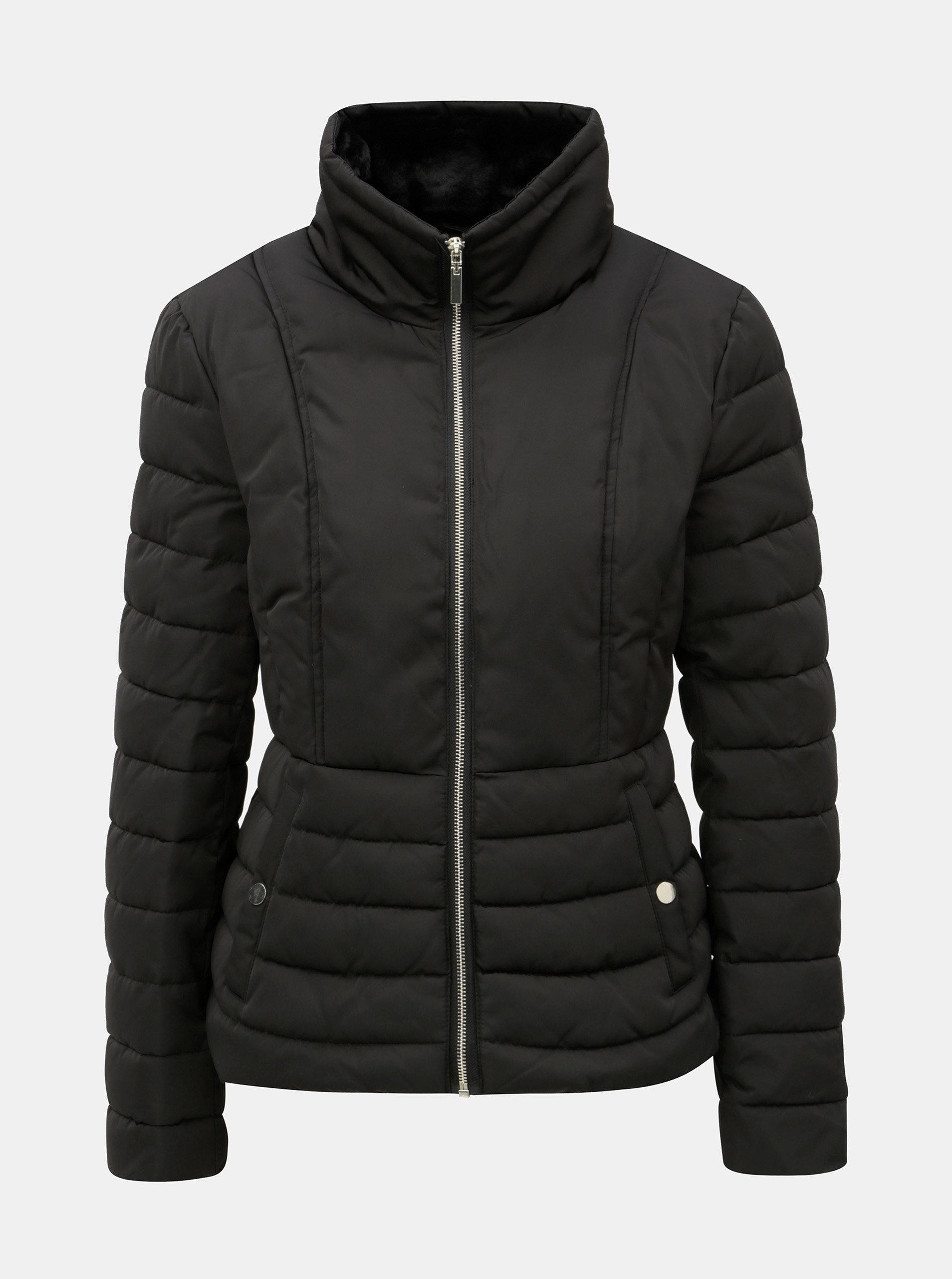 Černá zimní prošívaná bunda s vysokým límcem Miss Selfridge ... f2c5e307e4