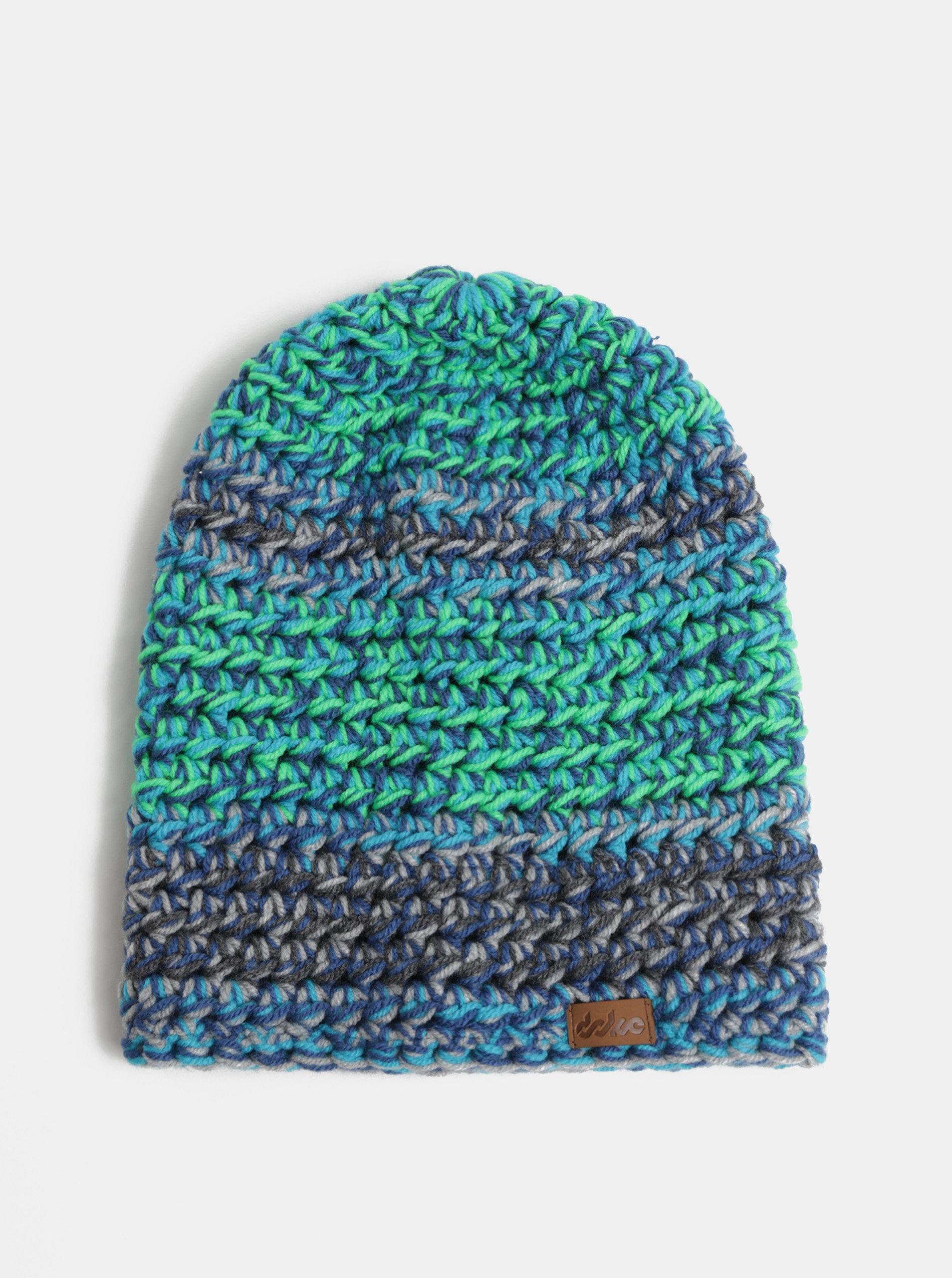 a124464346e Zeleno-modrá zimní pletená čepice DOKE ...