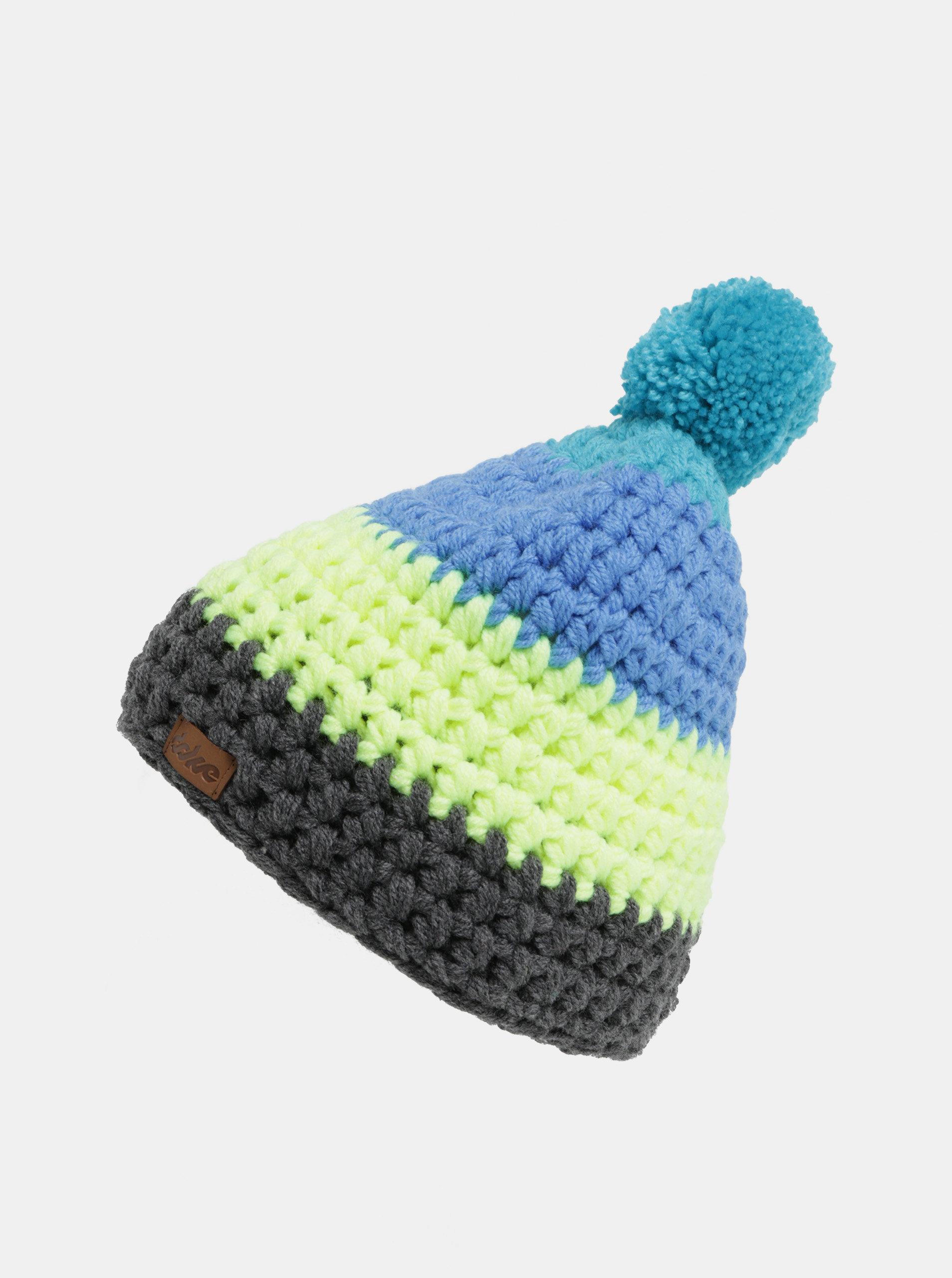 510a10b5001 Šedo-modrá zimní pletená čepice s bambulí DOKE ...