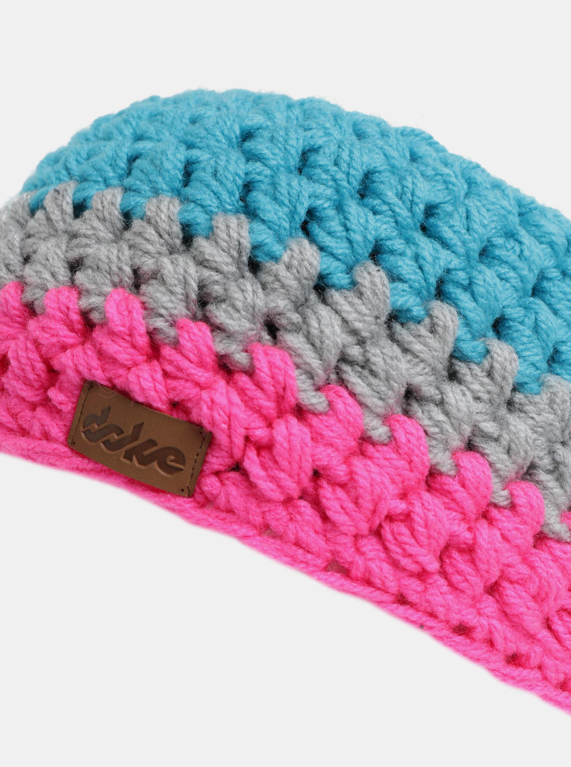 Růžovo-modrá pletená zimní čelenka DOKE ... 314e0768ea