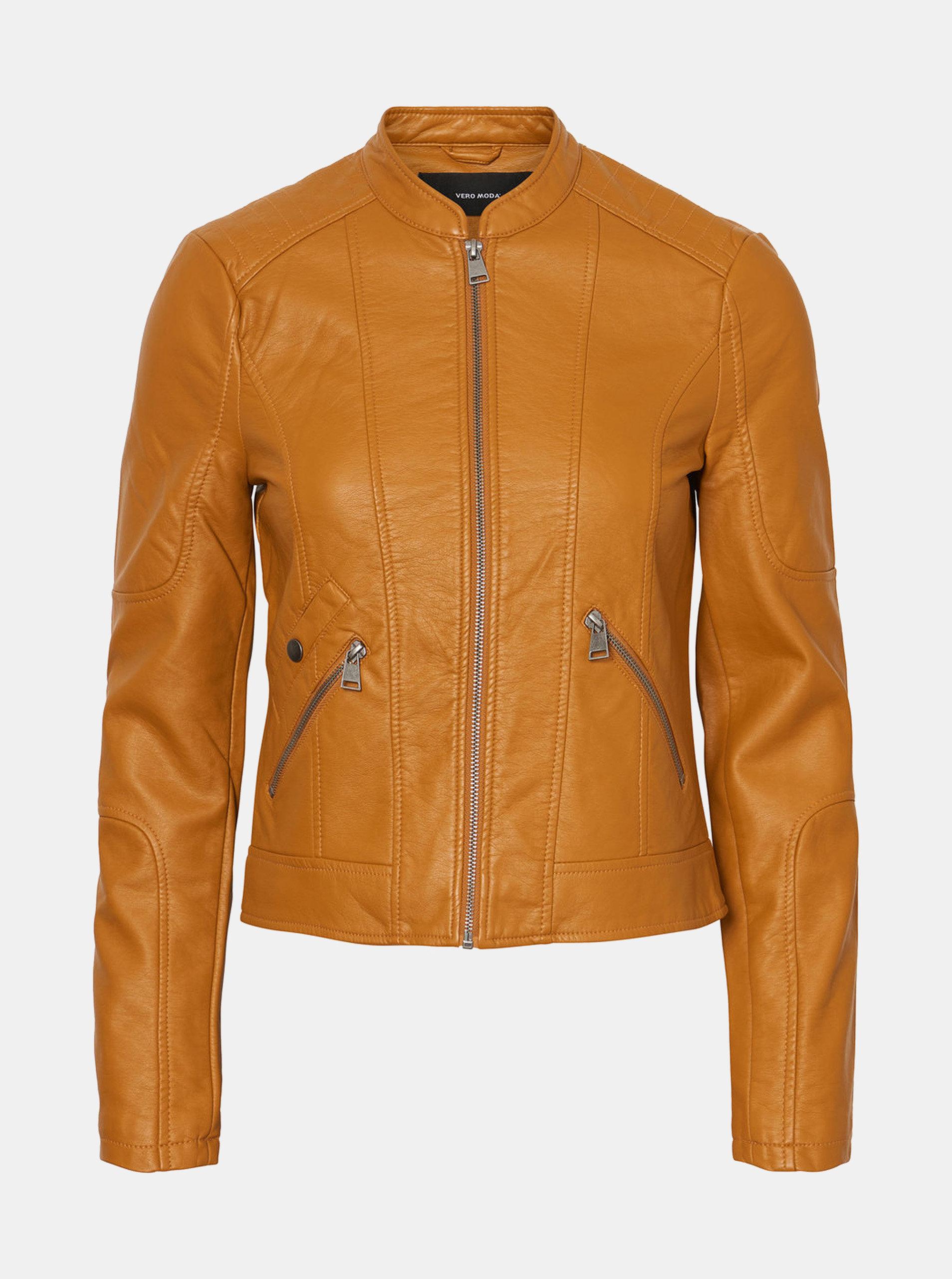 Horčicová koženková bunda VERO MODA Europe ... 22003c8327f