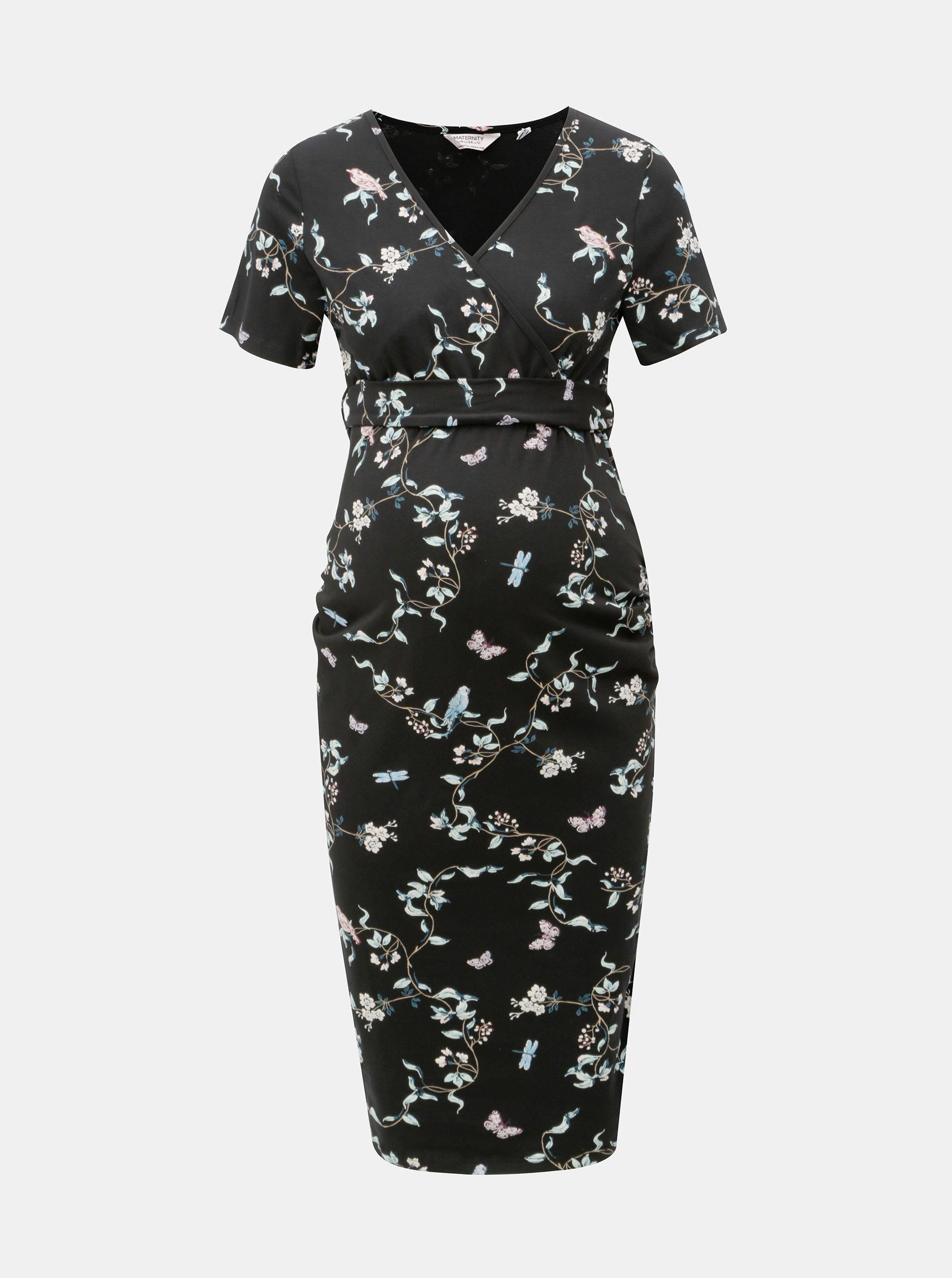 67326a3a893 Černé květované těhotenské šaty s překládaným výstřihem Dorothy Perkins  Maternity ...