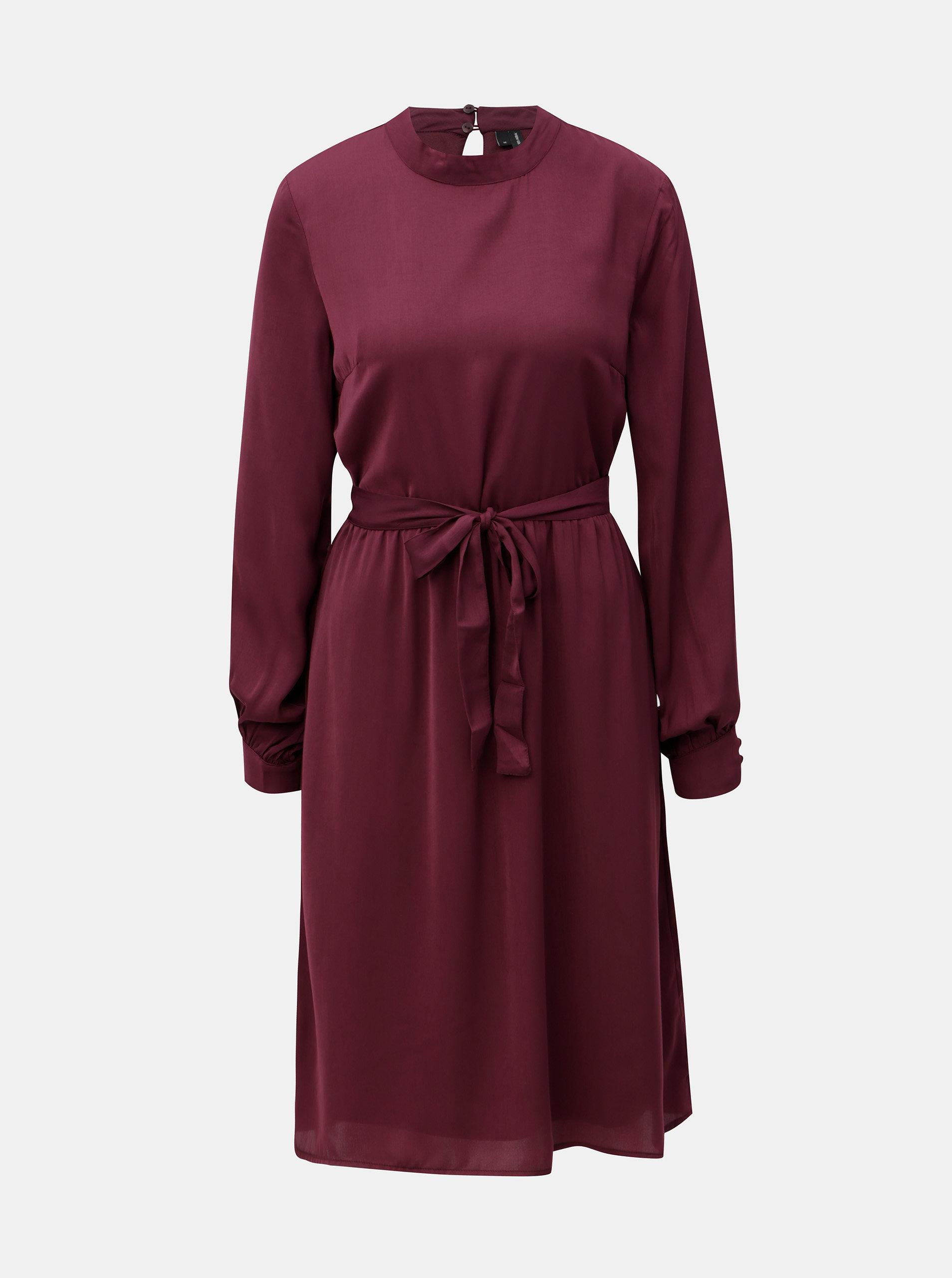 Vínové šaty s dlouhým rukávem VERO MODA Billia