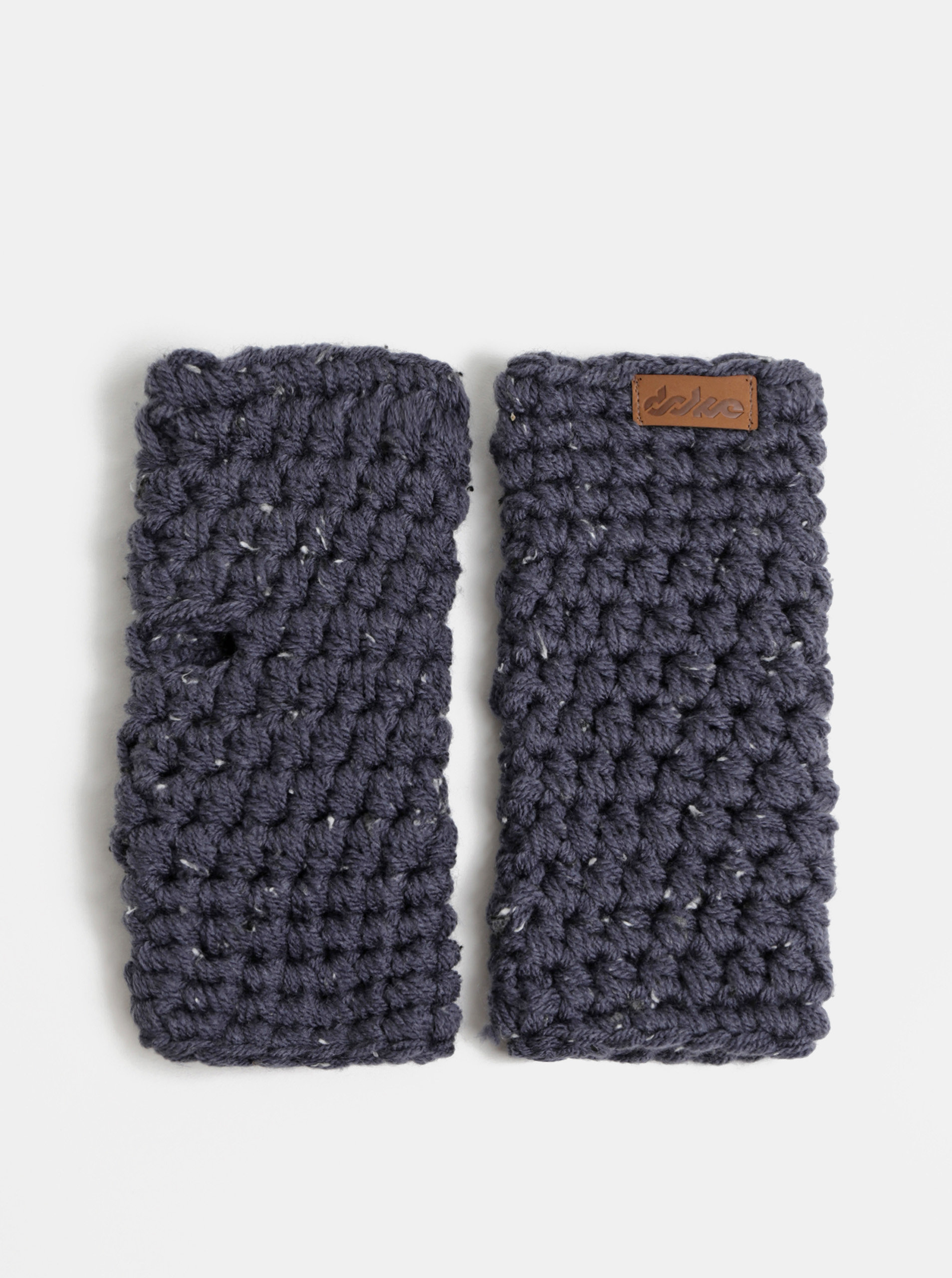 Tmavě modré pletené návleky na ruce DOKE