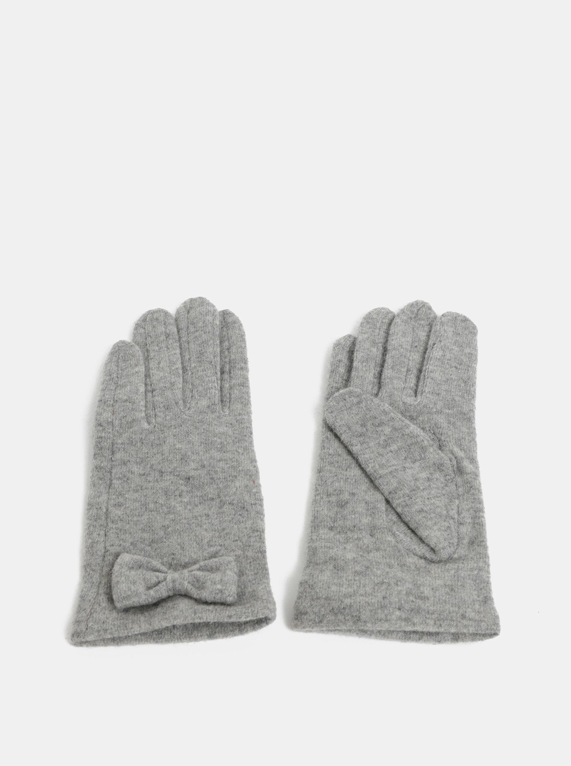 Šedé rukavice s mašličkou a příměsí vlny Pieces Fulva