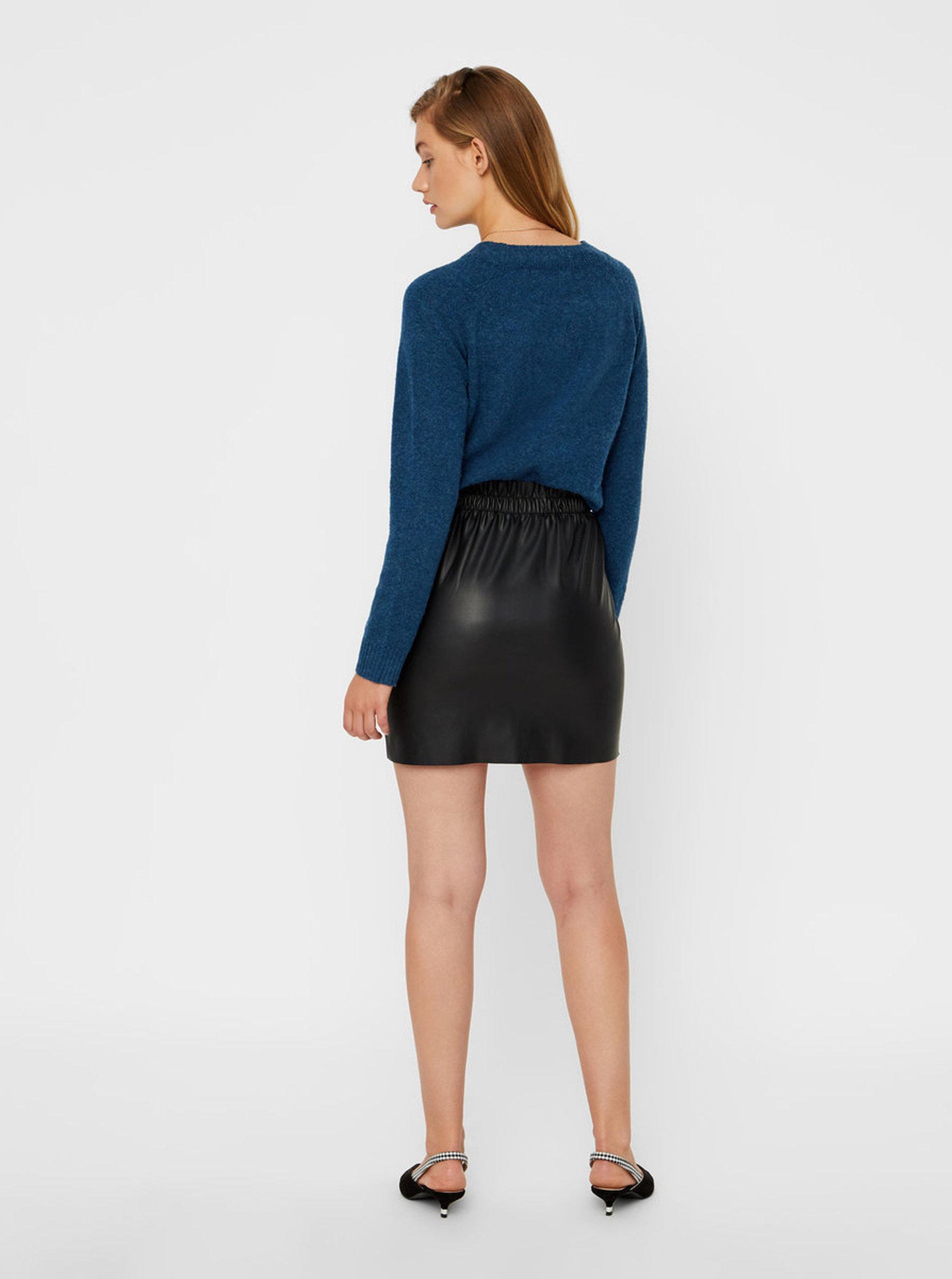 Černá koženková sukně VERO MODA Riley ... 7ad3387281