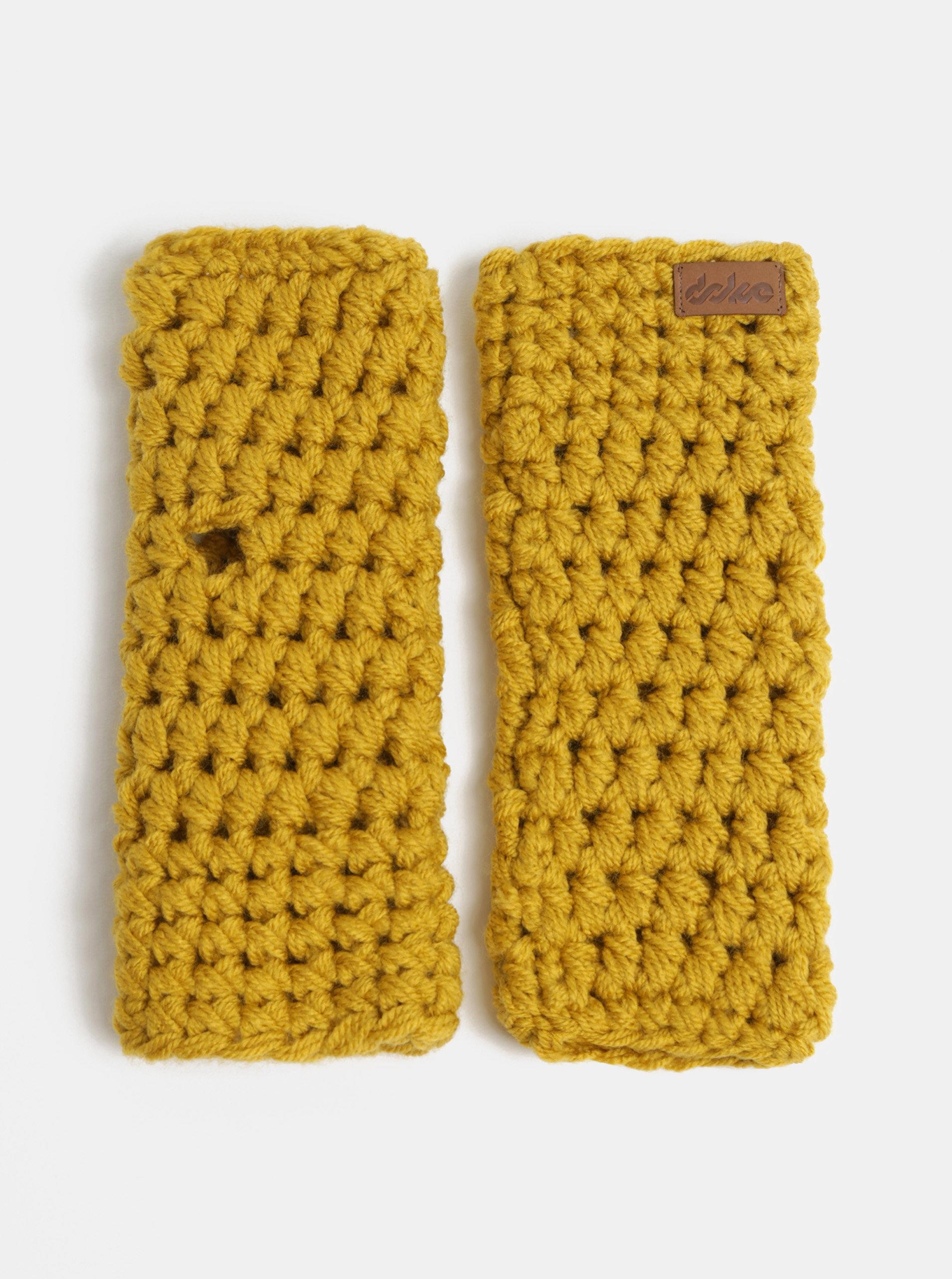 Hořčicové pletené návleky na ruce  DOKE