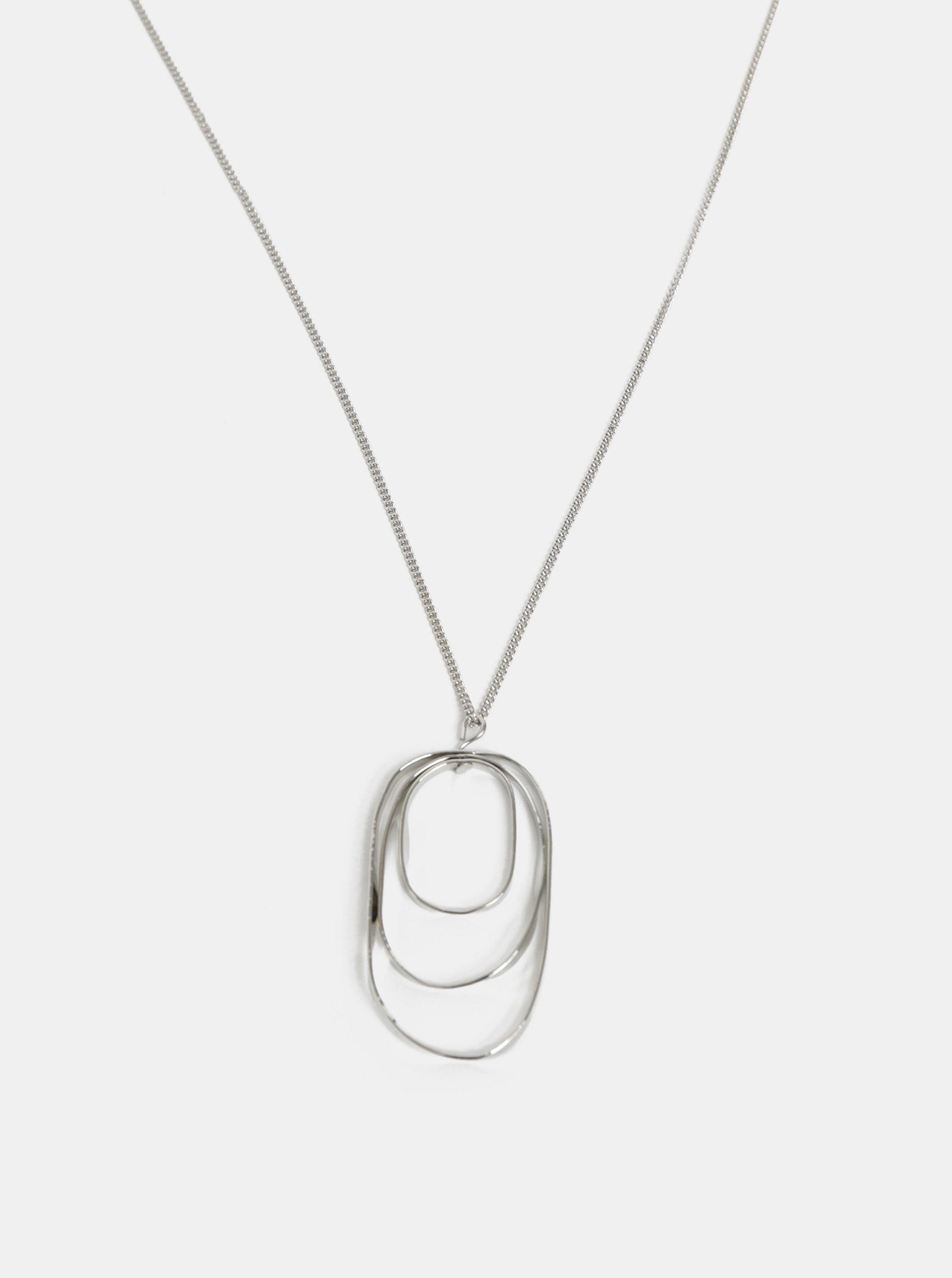Oválný náhrdelník ve stříbrné barvě Pieces Kalia