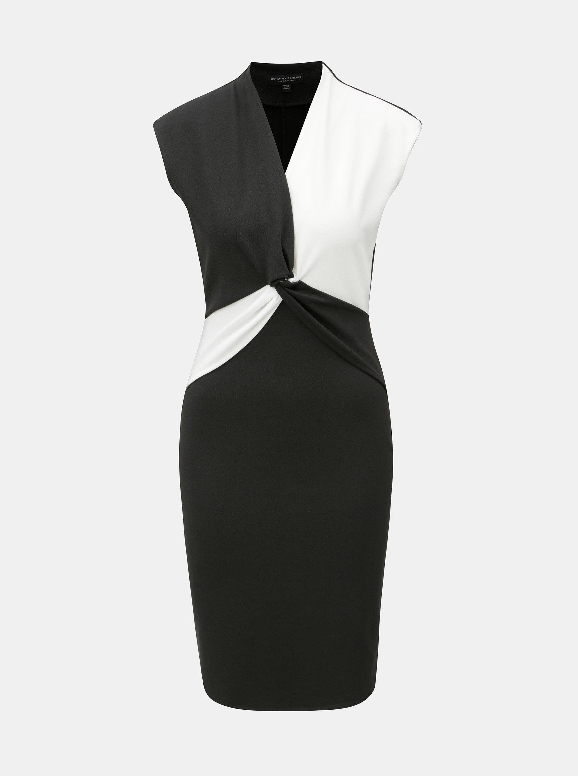 8d6502e23b8a Bielo–čierne šaty s prekladaným výstrihom Dorothy Perkins ...