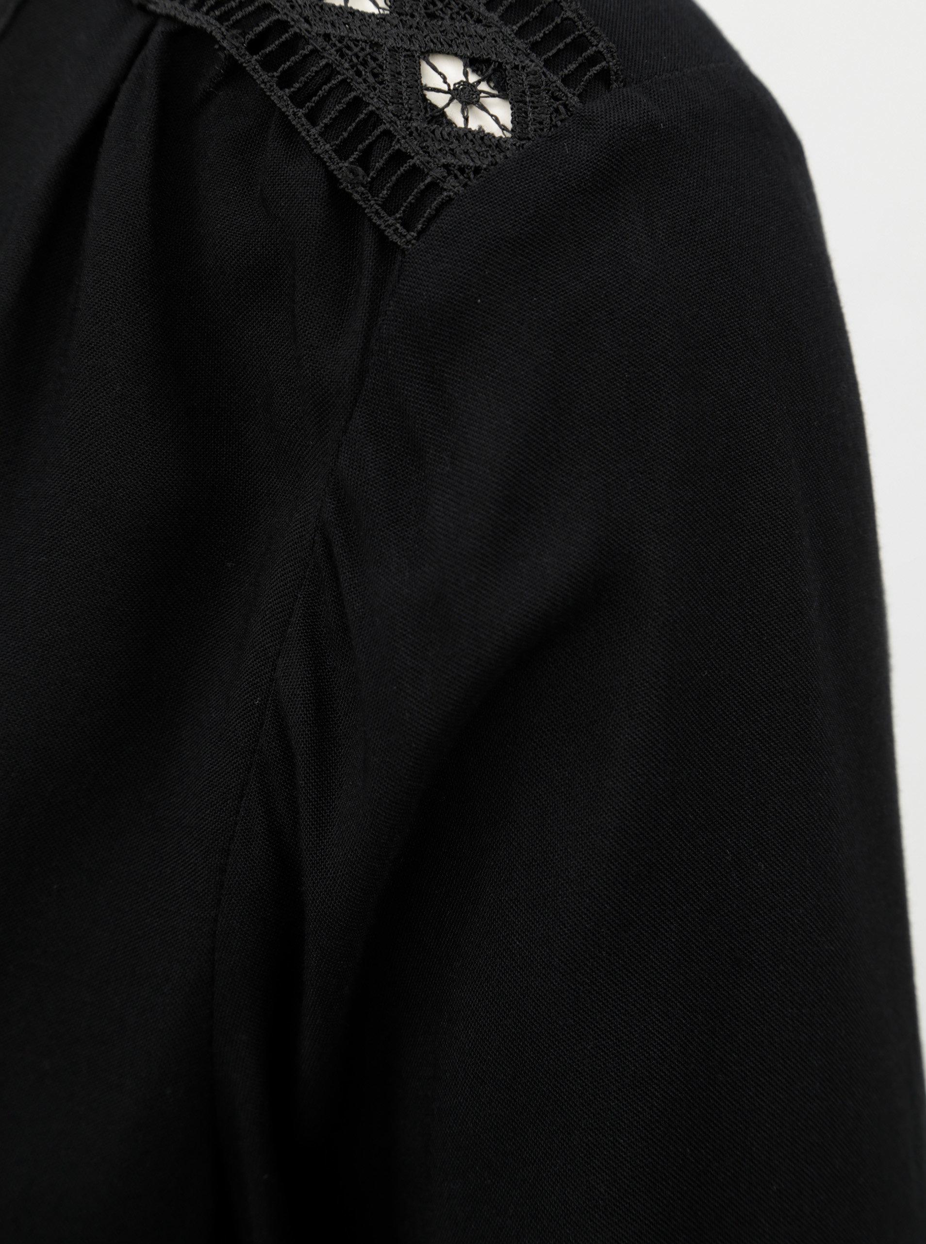 Čierna blúzka s čipkovanými detailmi VERO MODA Susan ... 175ac2dcd90