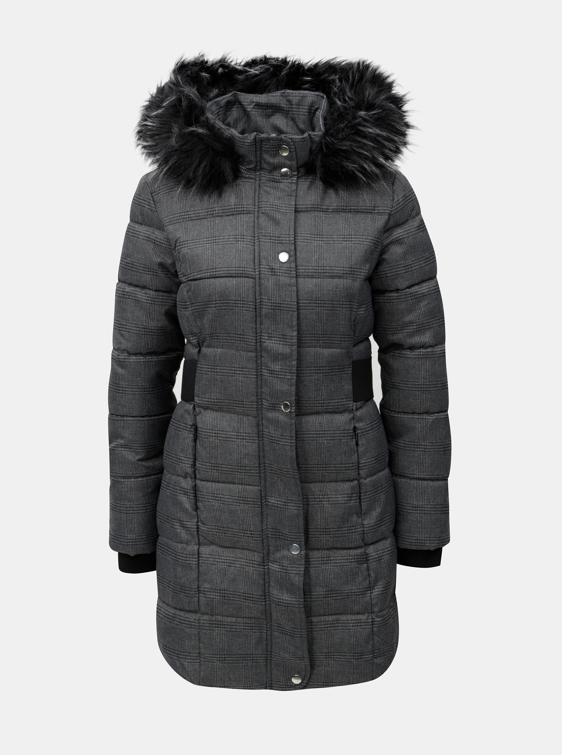 Tmavě šedý kostkovaný kabát s umělým kožíškem Dorothy Perkins Petite