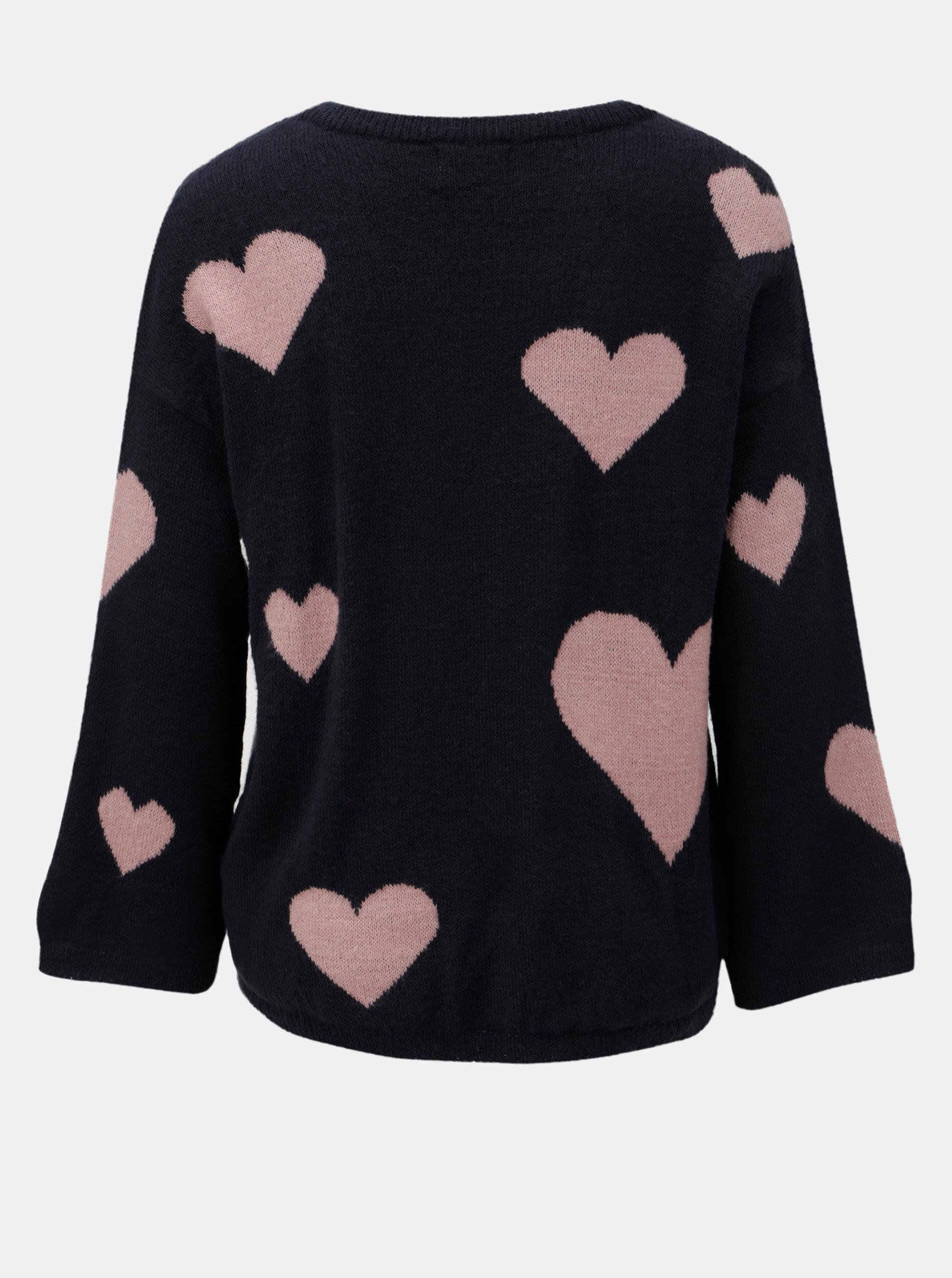 ad5d9a3de9ad Ružovo–modrý vzorovaný sveter s véčkovým výstrihom Jacqueline de Yong  Melange ...