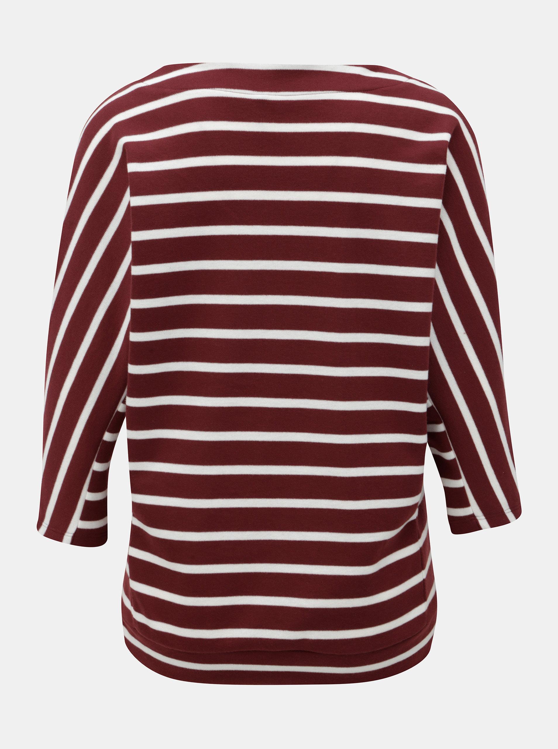 7ebdda909402 Vínový pruhovaný sveter s netopierími rukávmi ONLY Anna ...