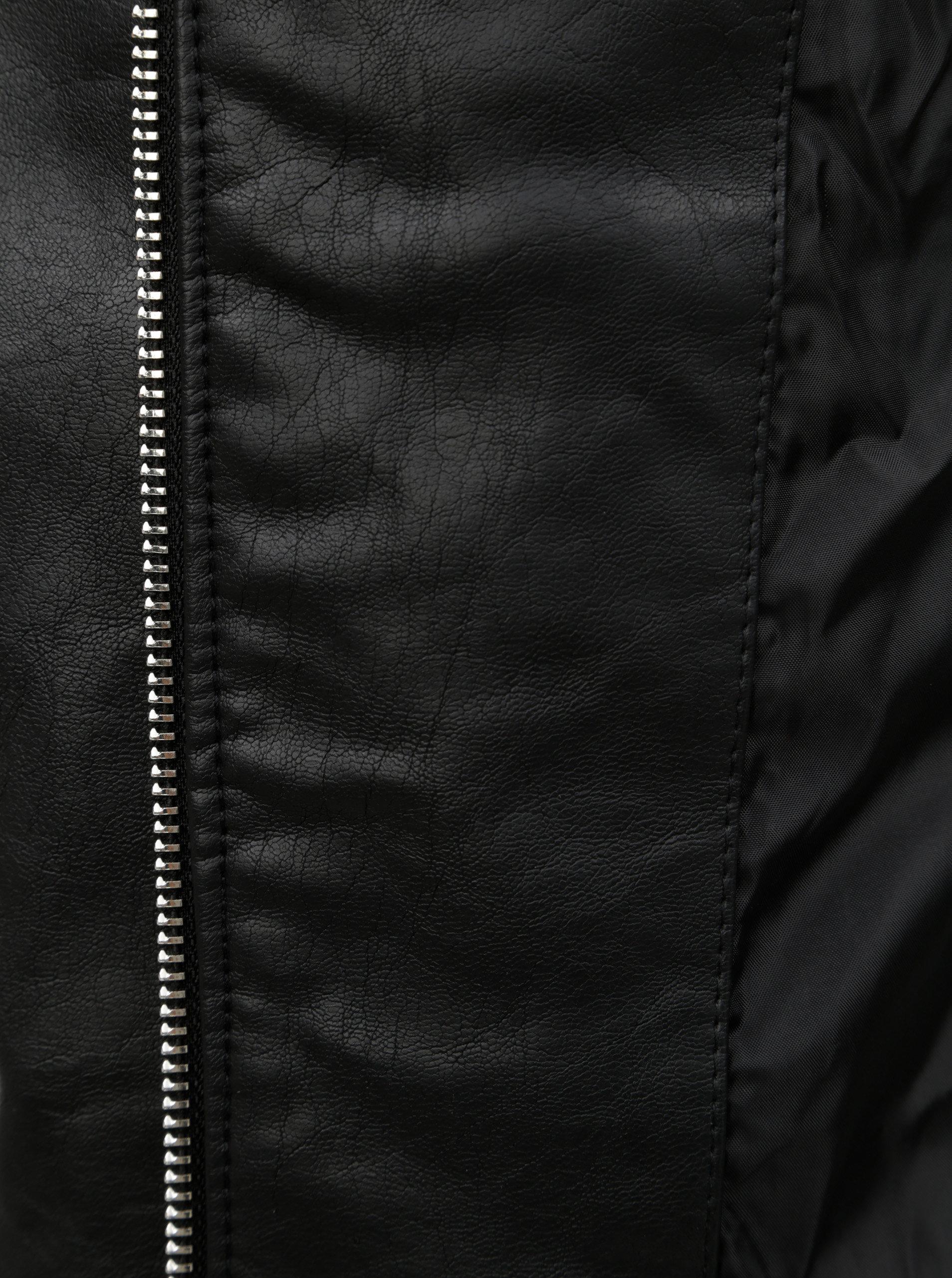 f28c0f62bbf Čierna koženková bunda s detailmi v striebornej farbe Dorothy Perkins Tall  ...