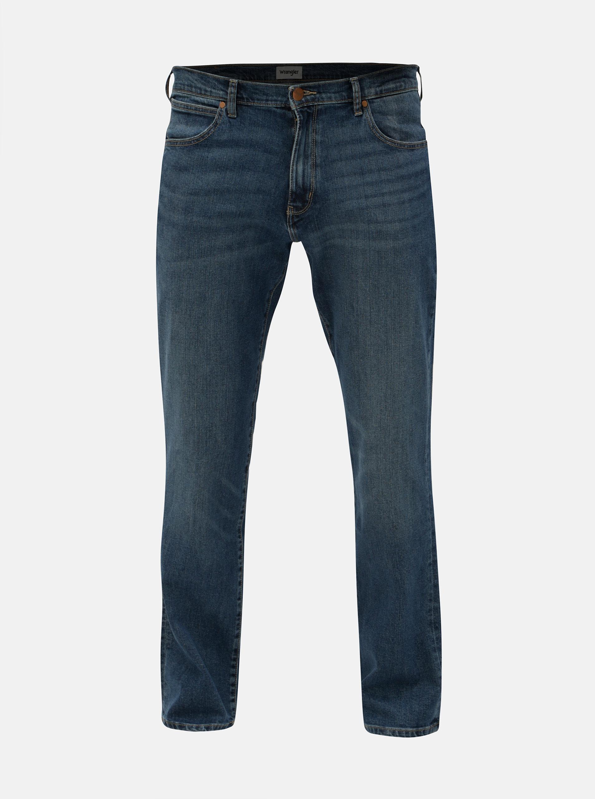 Modré pánské rovné vyšisované džíny Wrangler Arizona