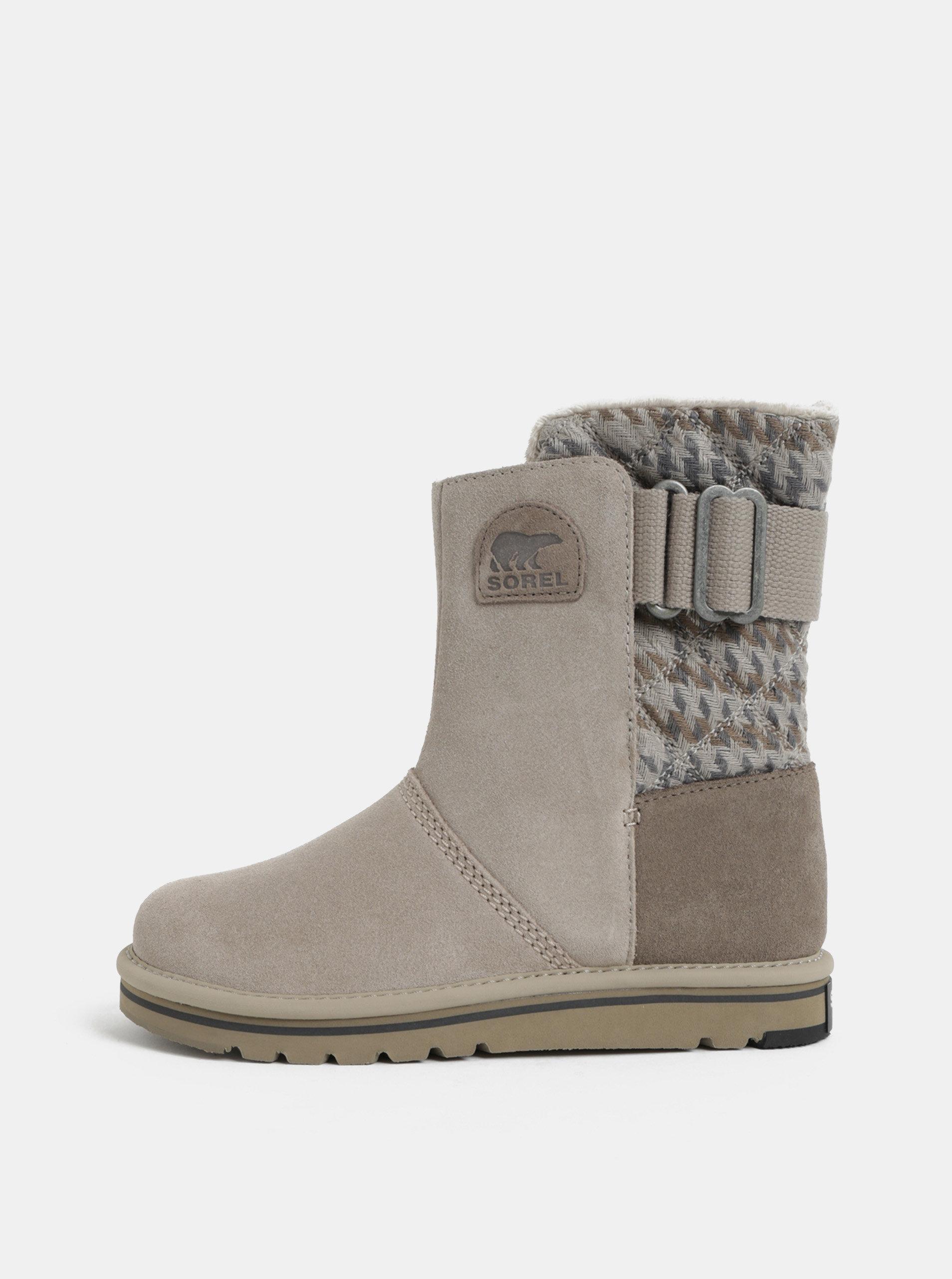 Šedé dámské semišové zimní boty SOREL Newbie ... 3b679f8506