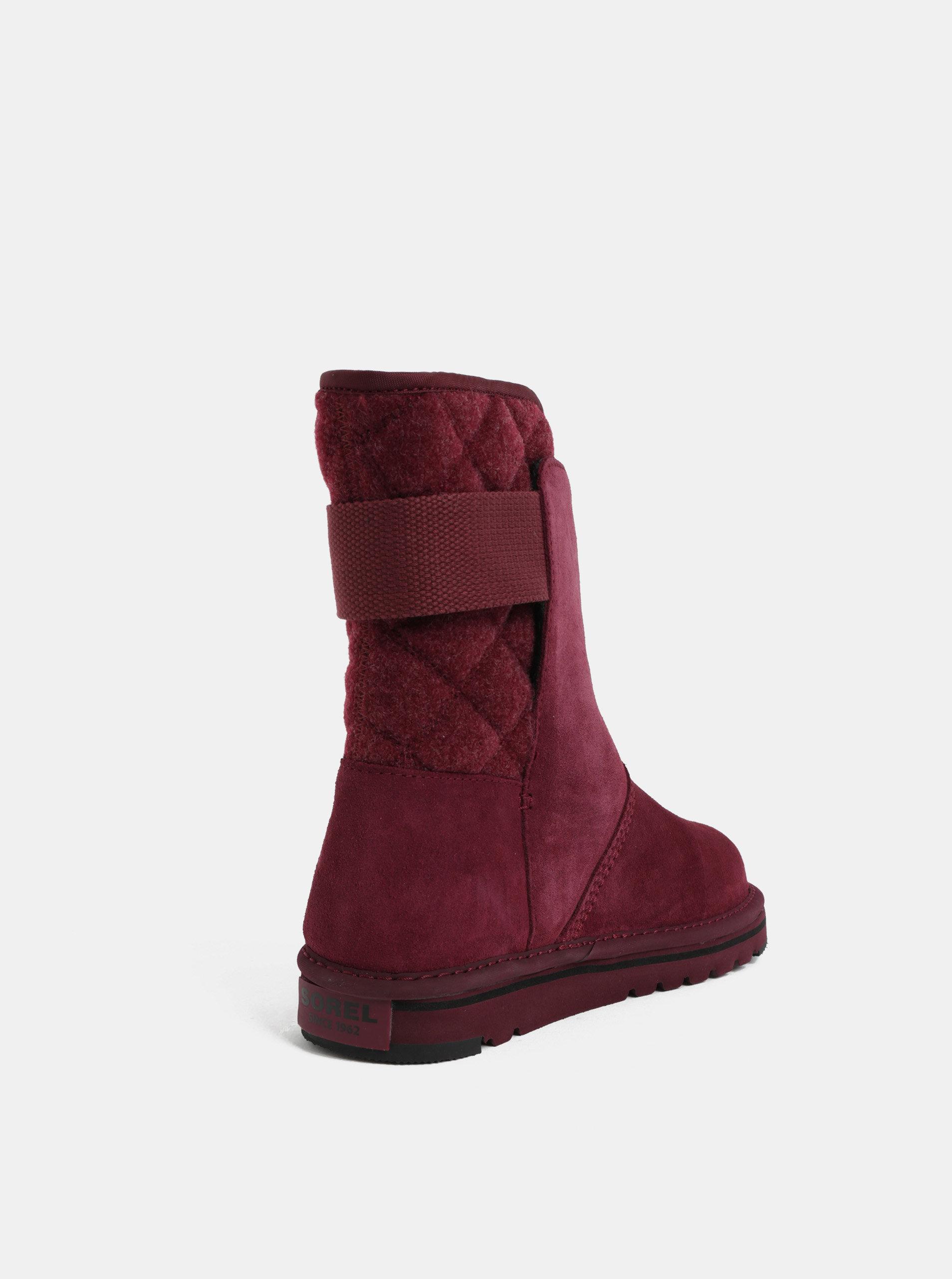 6f175097541dc Vínové dámske semišové zimné topánky SOREL Newbie ...