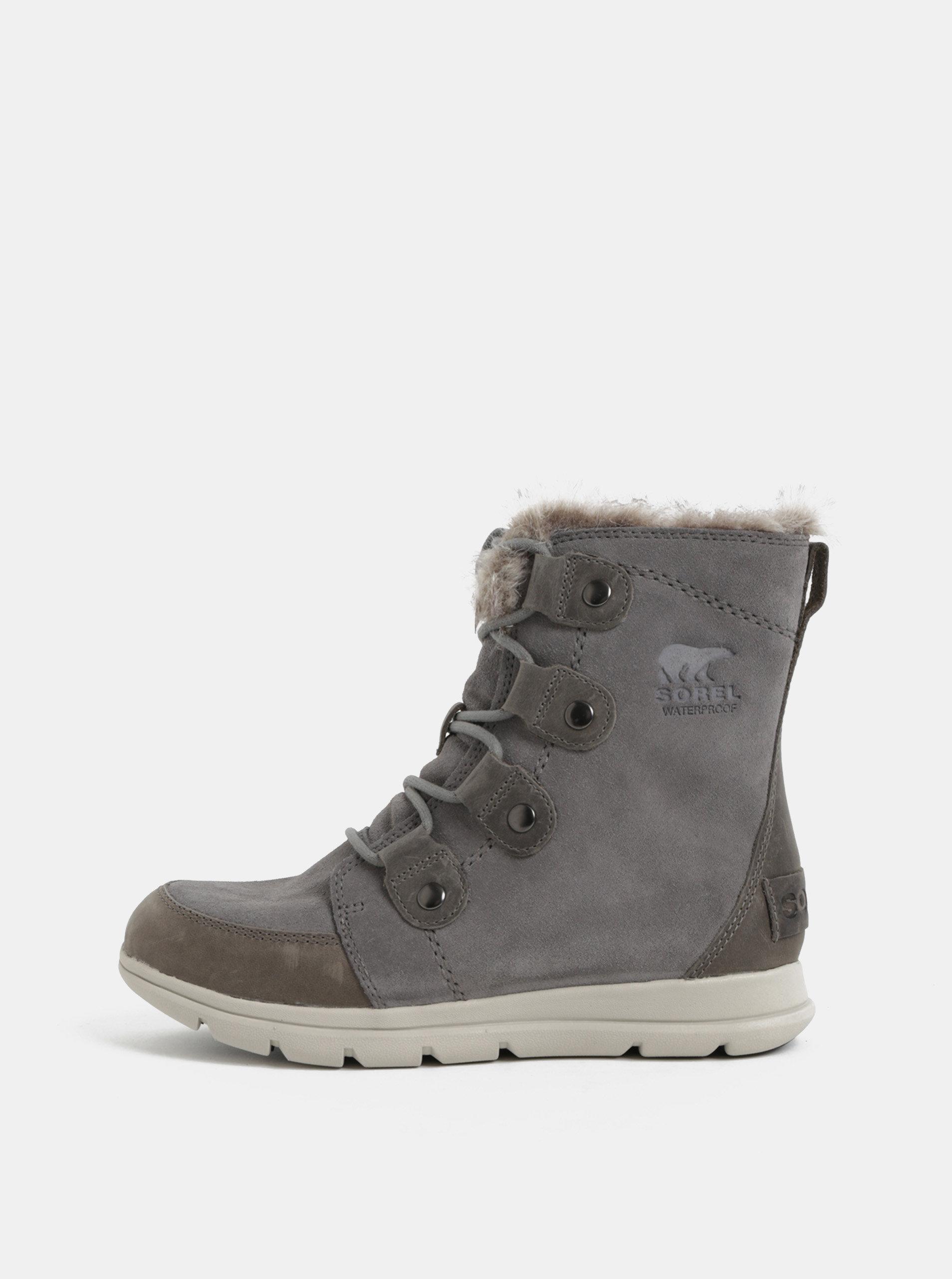 Sivé dámske semišové nepremokavé zimné topánky SOREL Explorer Joan ... 786708c3c21