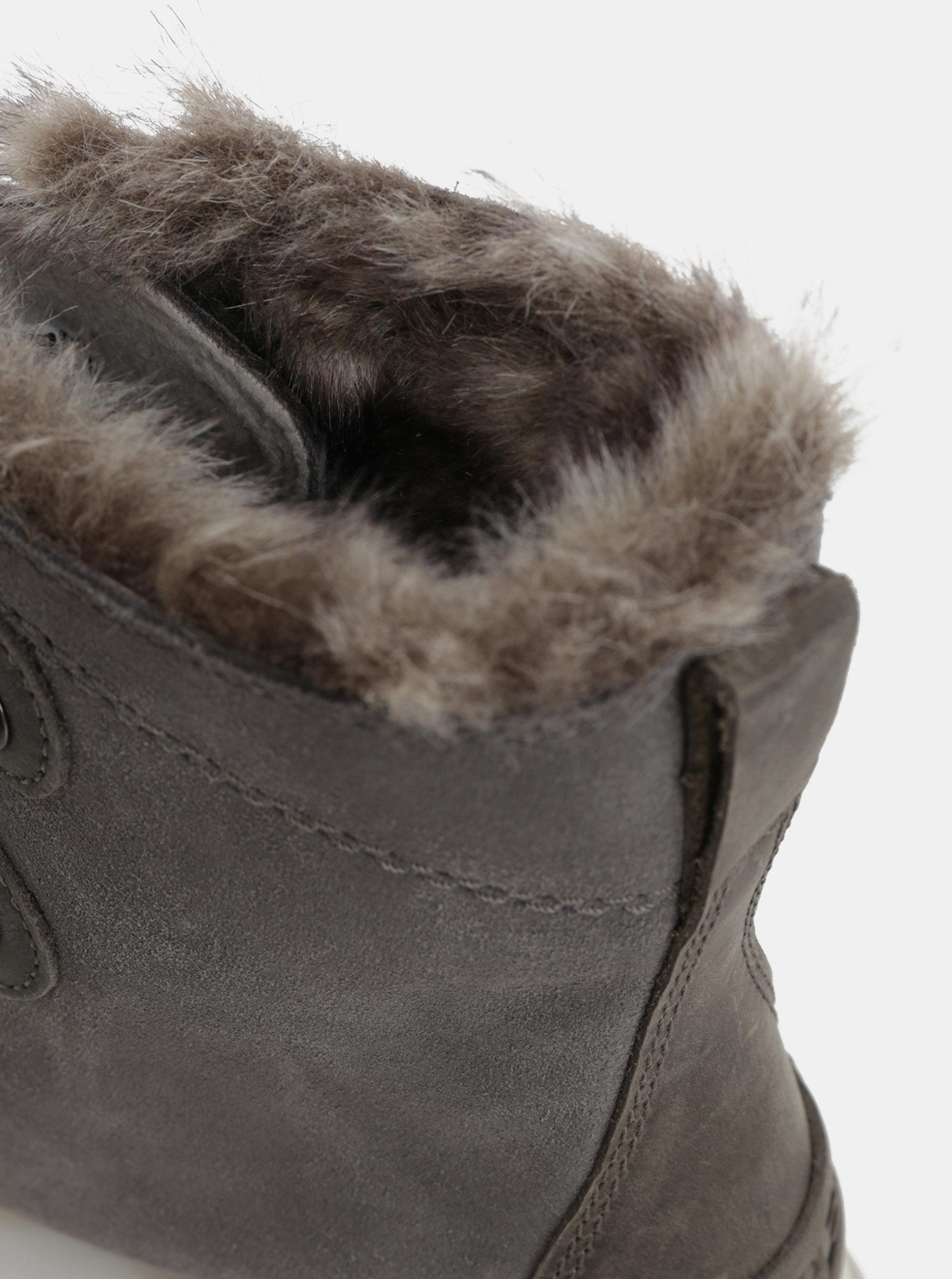 Sivé dámske semišové nepremokavé zimné topánky SOREL Explorer Joan ... 56597de8e3f