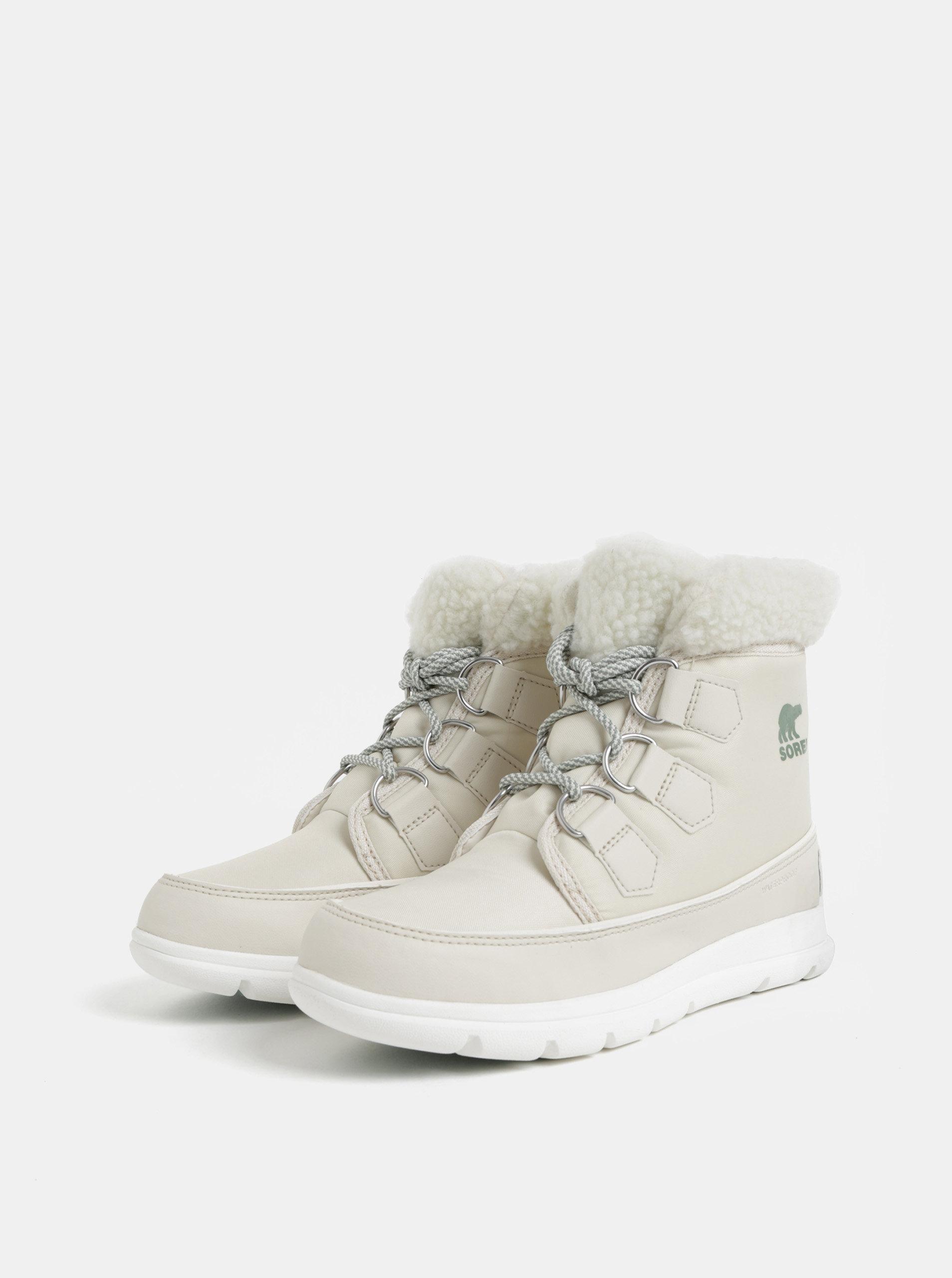 Krémové dámske nepremokavé zimné topánky SOREL Explorel Carnival ... ee20ab04e7f
