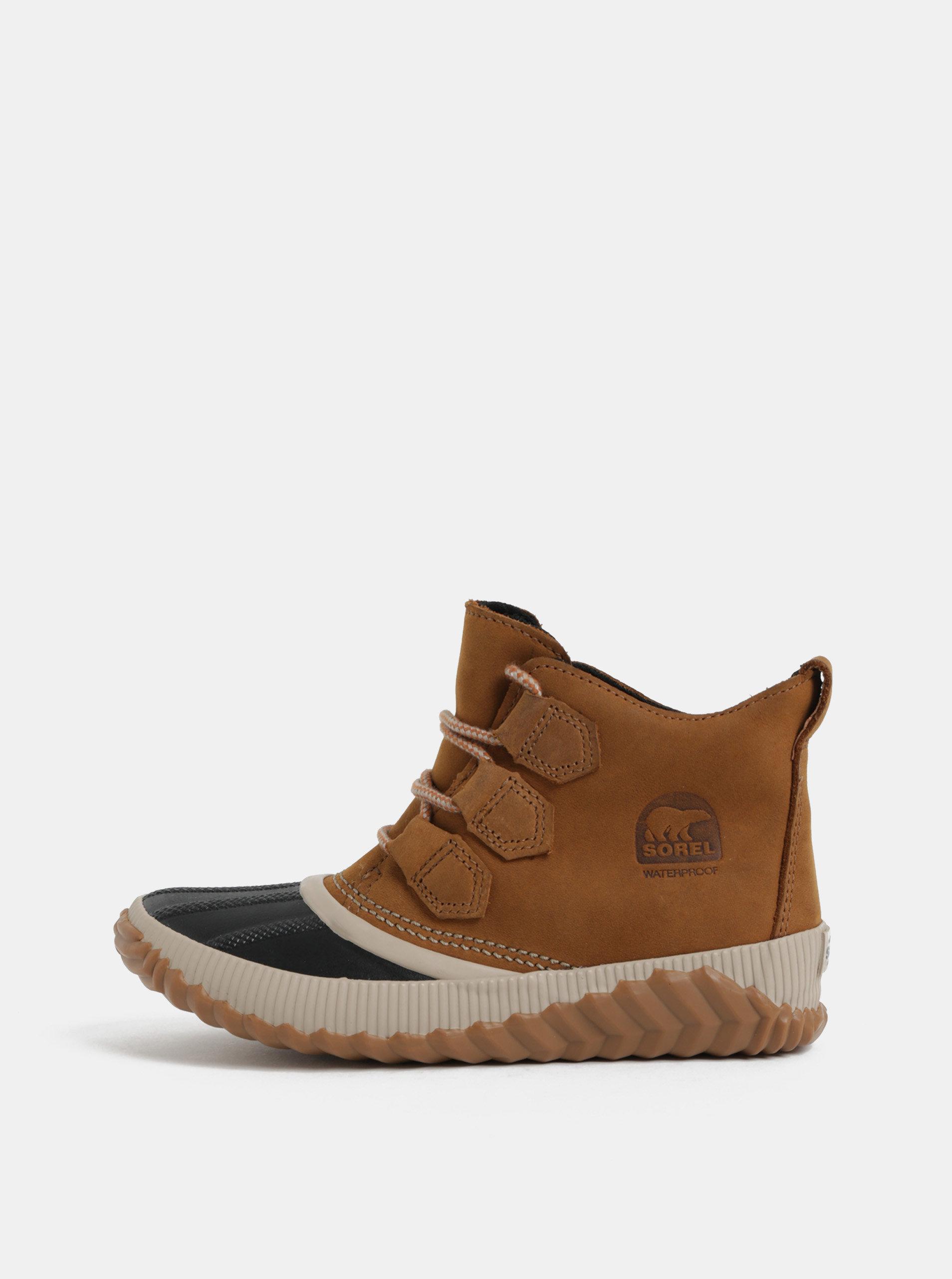 Hnedé dámske kožené nepremokavé členkové topánky SOREL Out n About Plus ... fdd588dec51