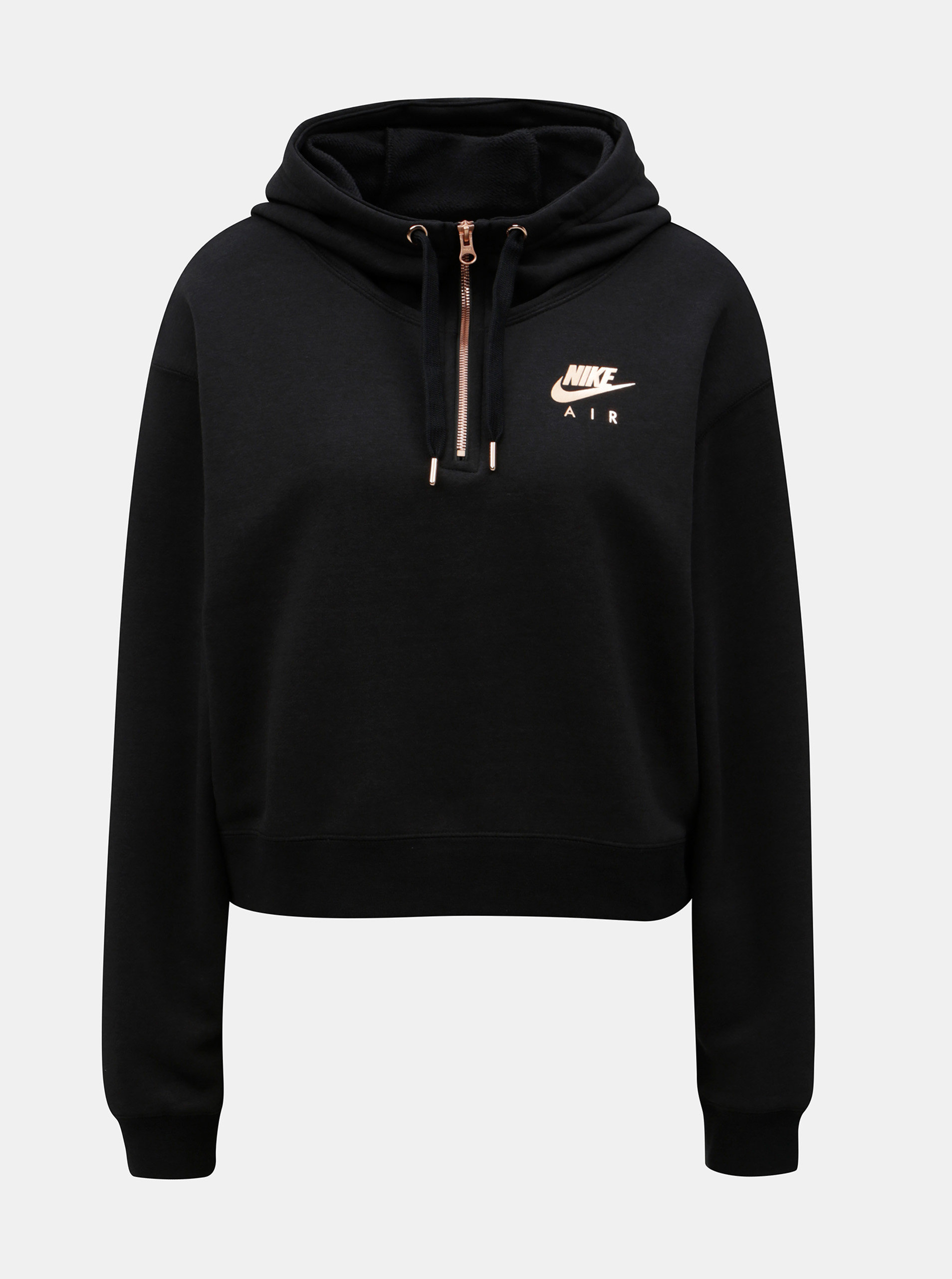 Černá dámská oversize zkrácená mikina s kapucí Nike 781fffb7b6