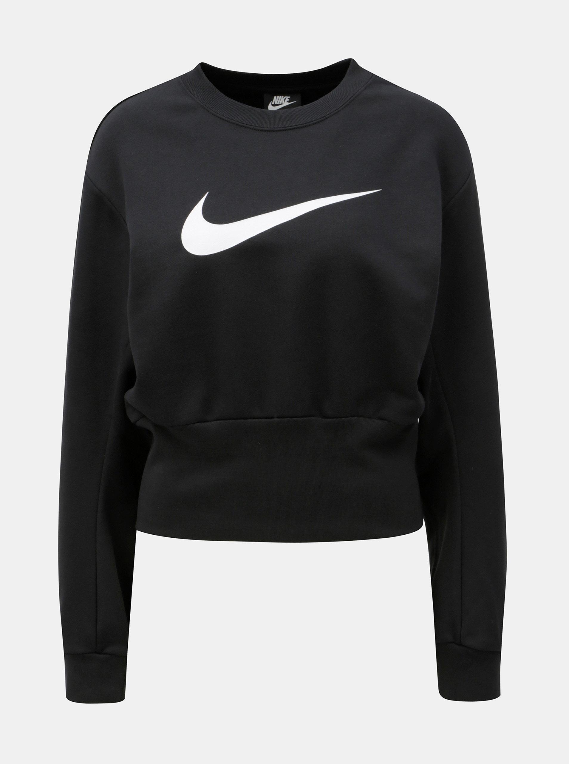 358888f38659 Čierna dámska voľná skrátená mikina s potlačou Nike Crew ...