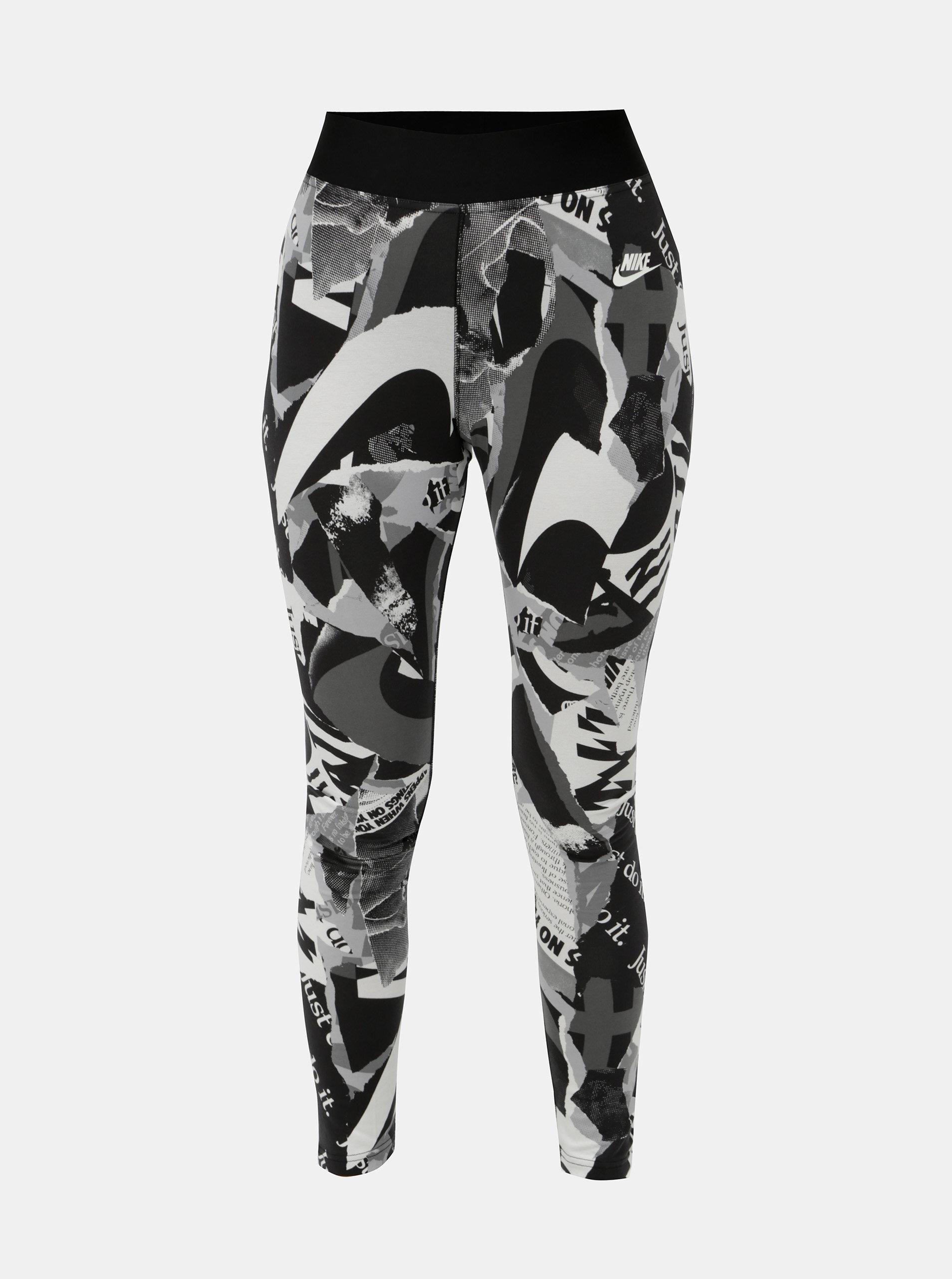 c395530581d Bílo-černé dámské vzorované zkrácené legíny s vysokým pasem Nike Newsprint  ...
