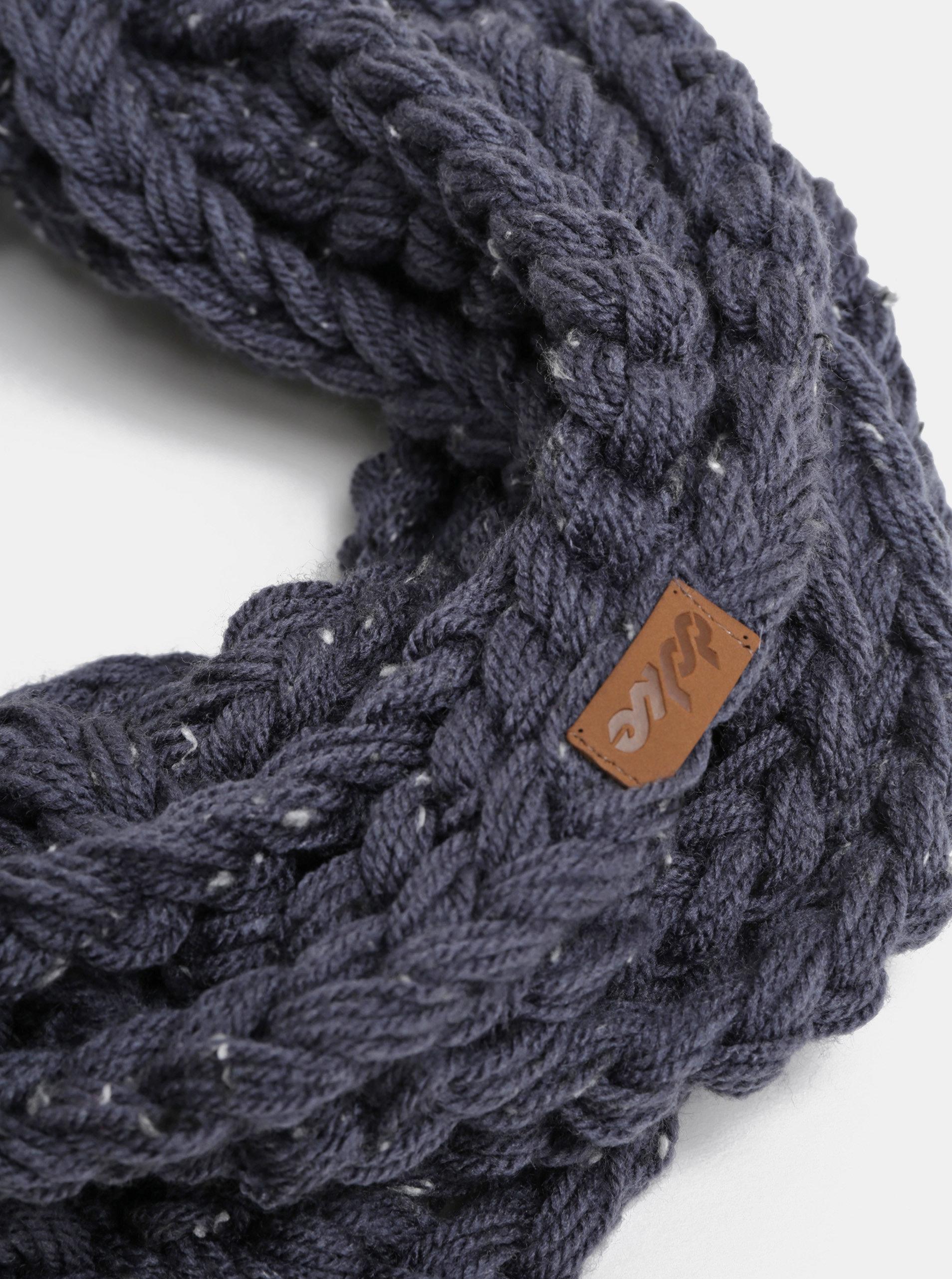 Tmavě modrá dámská pletená šála DOKE ... efe36ac35c