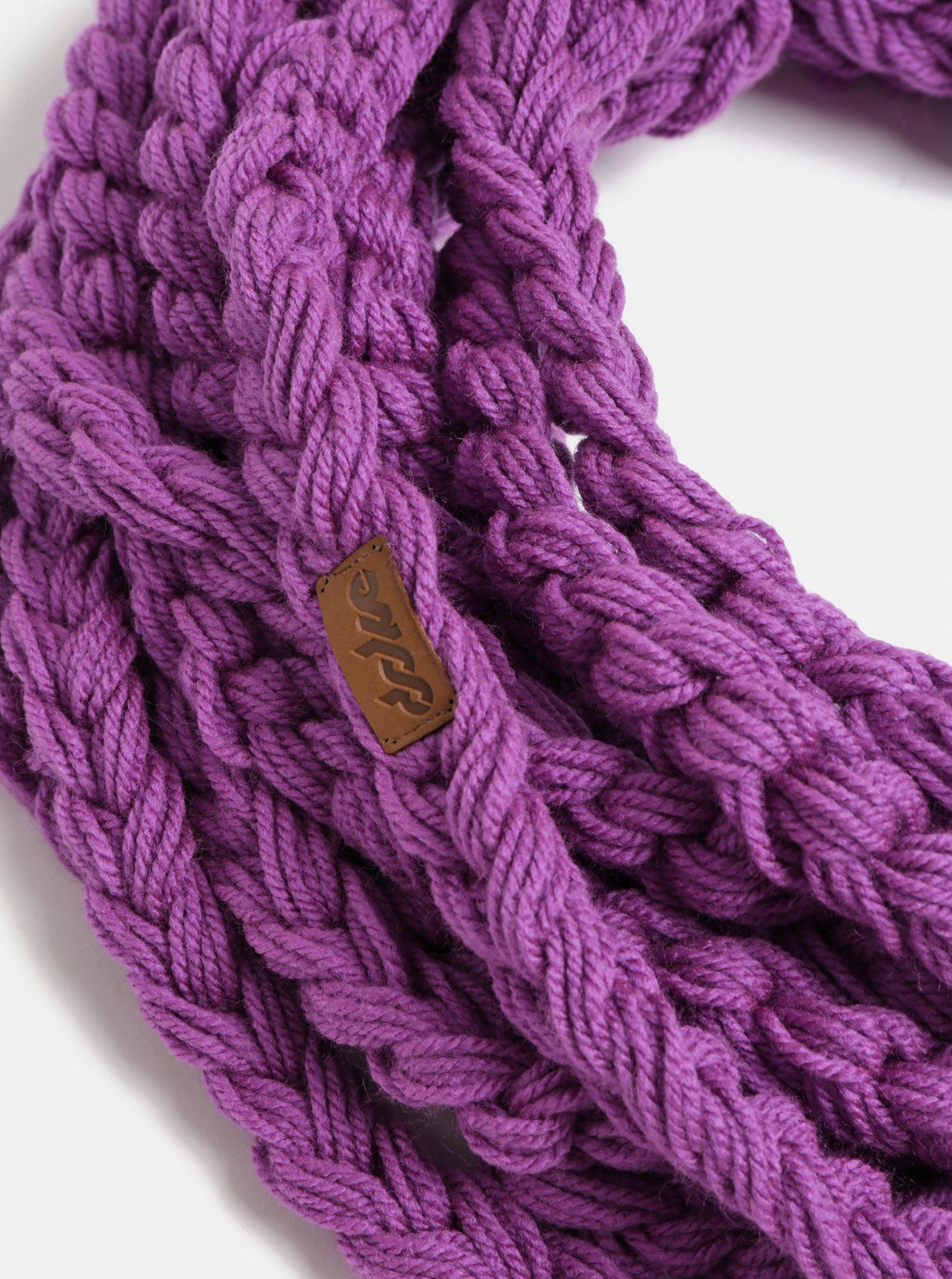 Fialová dámská pletená šála DOKE ... 828851b805