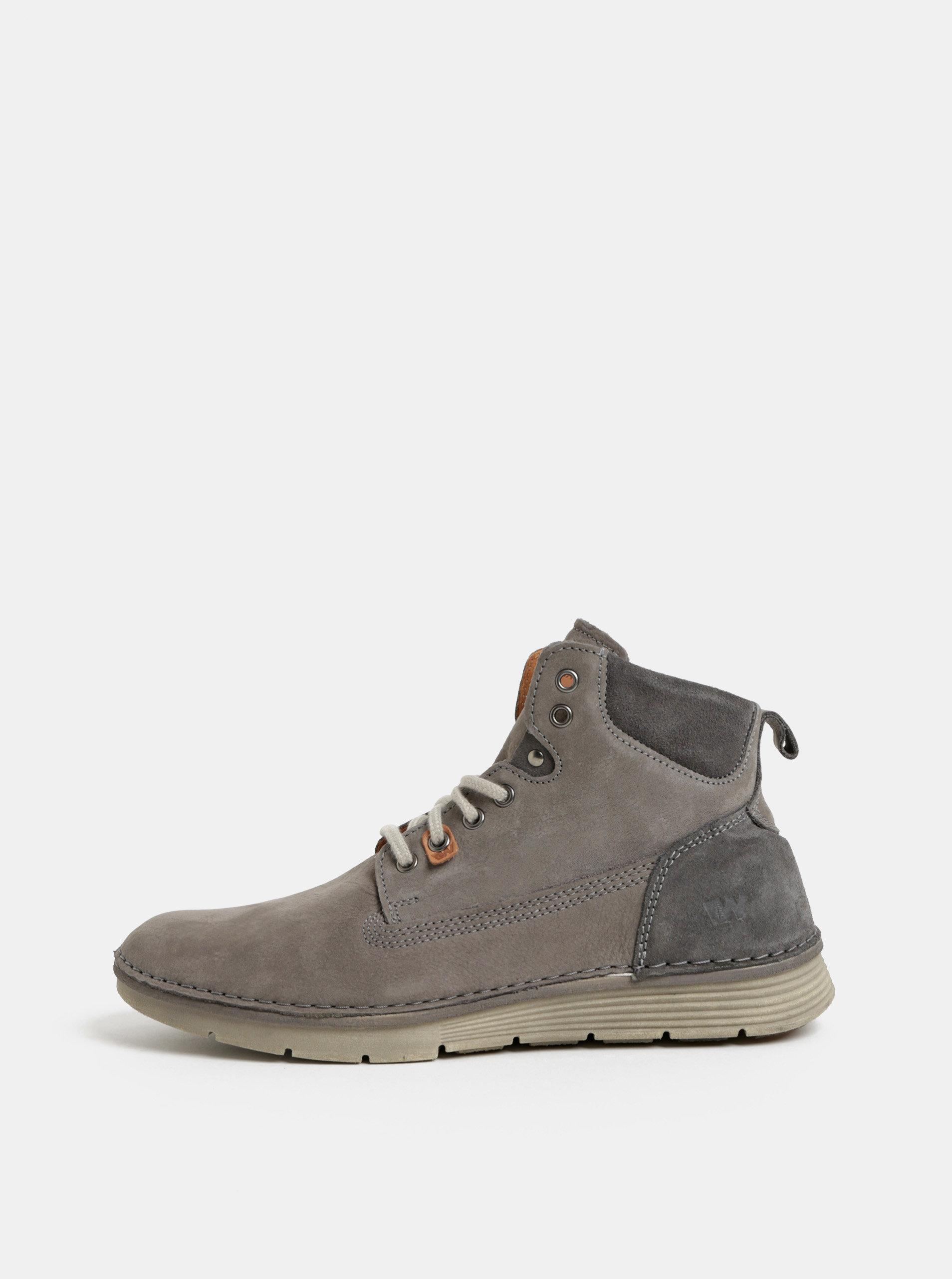77c12d3c03f0 Sivé pánske kožené členkové topánky Weinbrenner ...