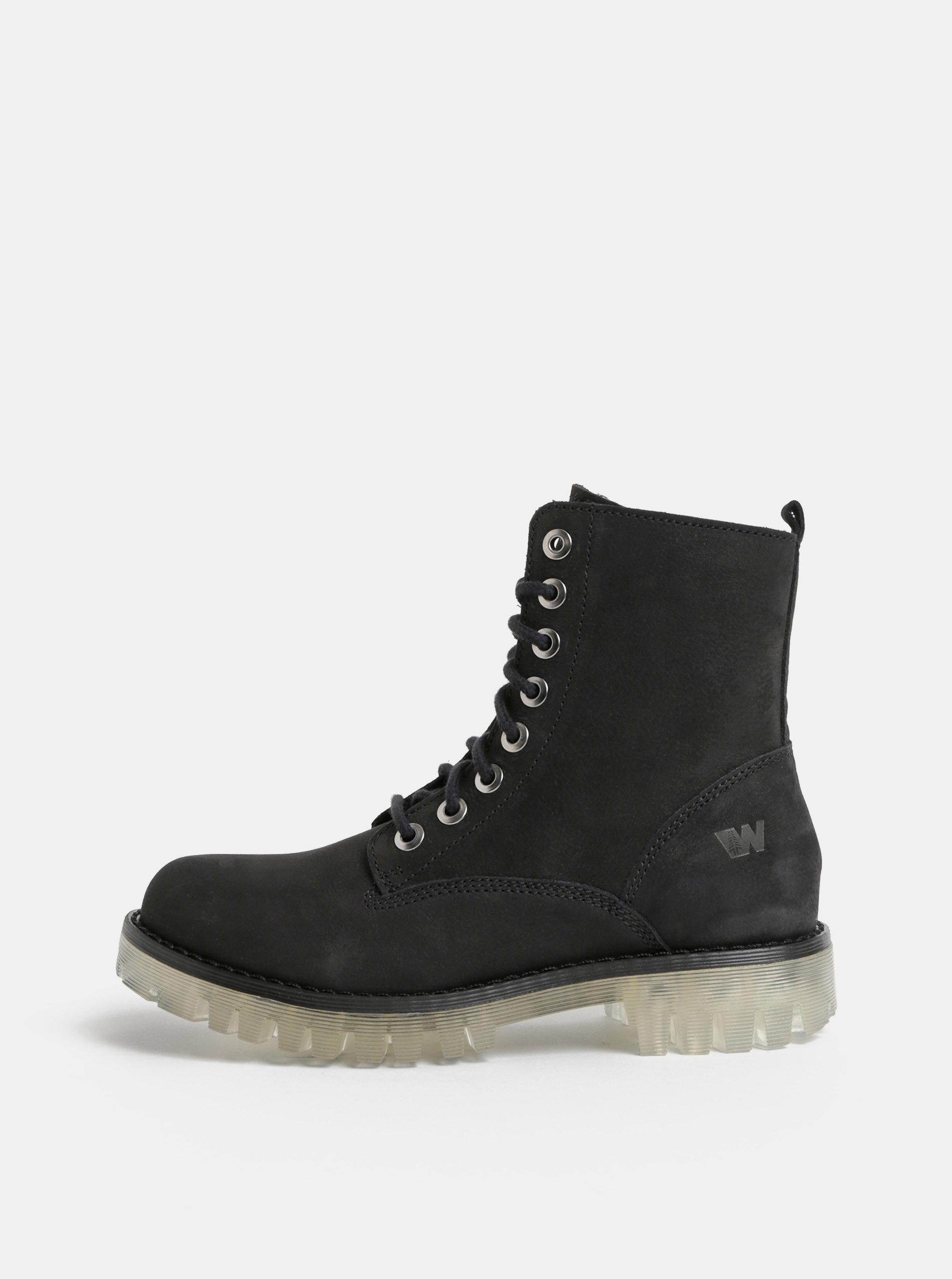 5a1f8fcbc19b Čierne dámske kožené členkové topánky Weinbrenner ...