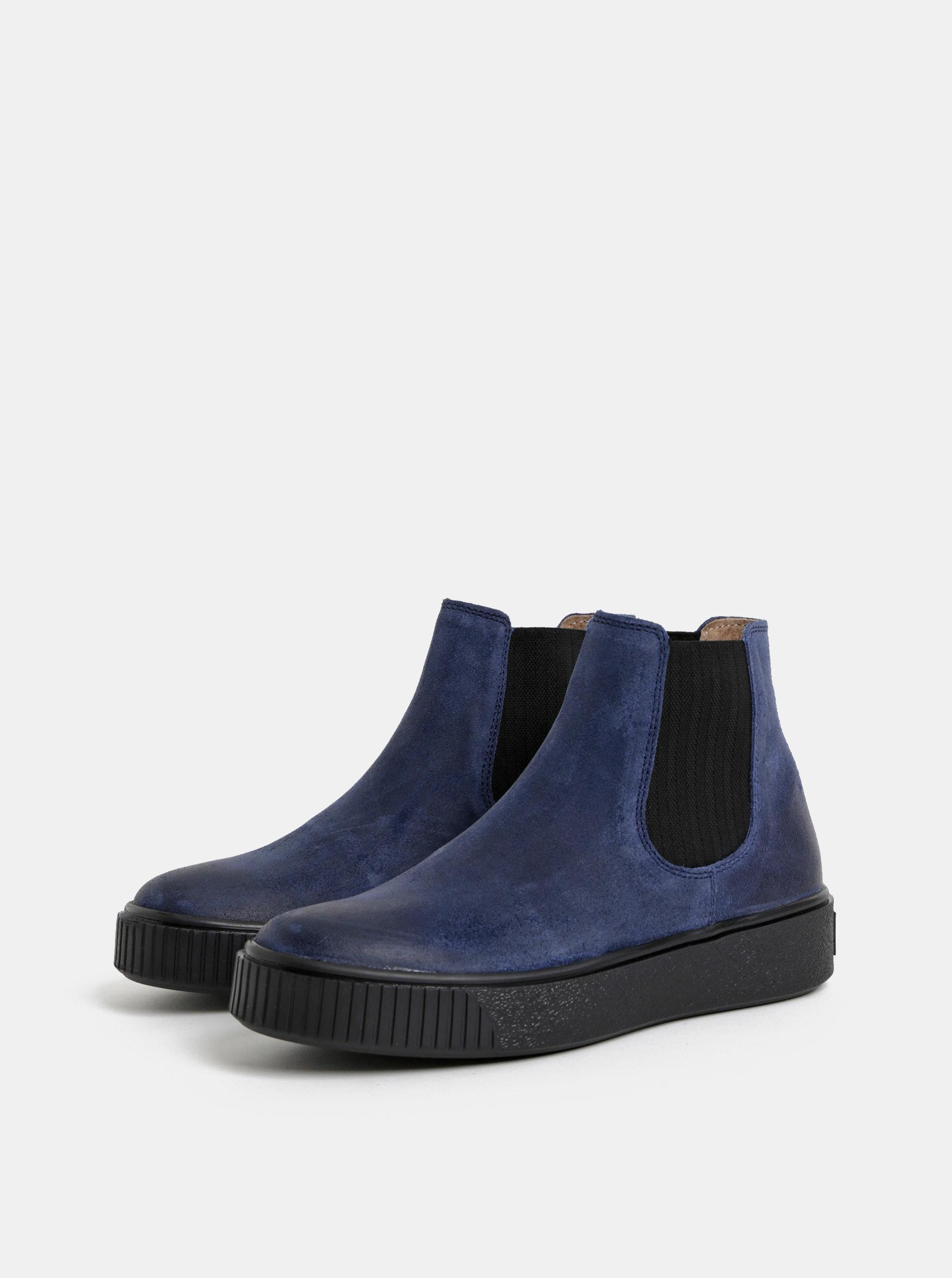 c37d5d9d691e Modré dámské kožené chelsea boty na platformě Weinbrenner ...
