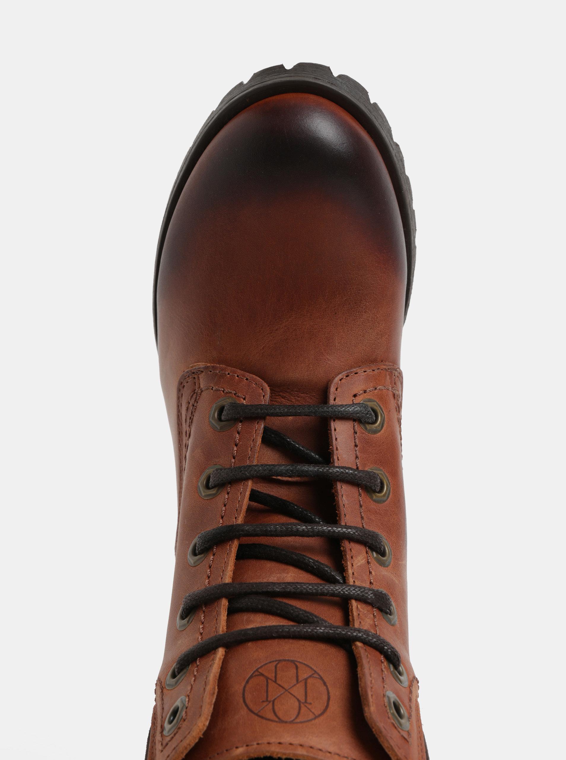 f14a005c3d53 Hnedé kožené členkové topánky so semišovými detailmi OJJU ...