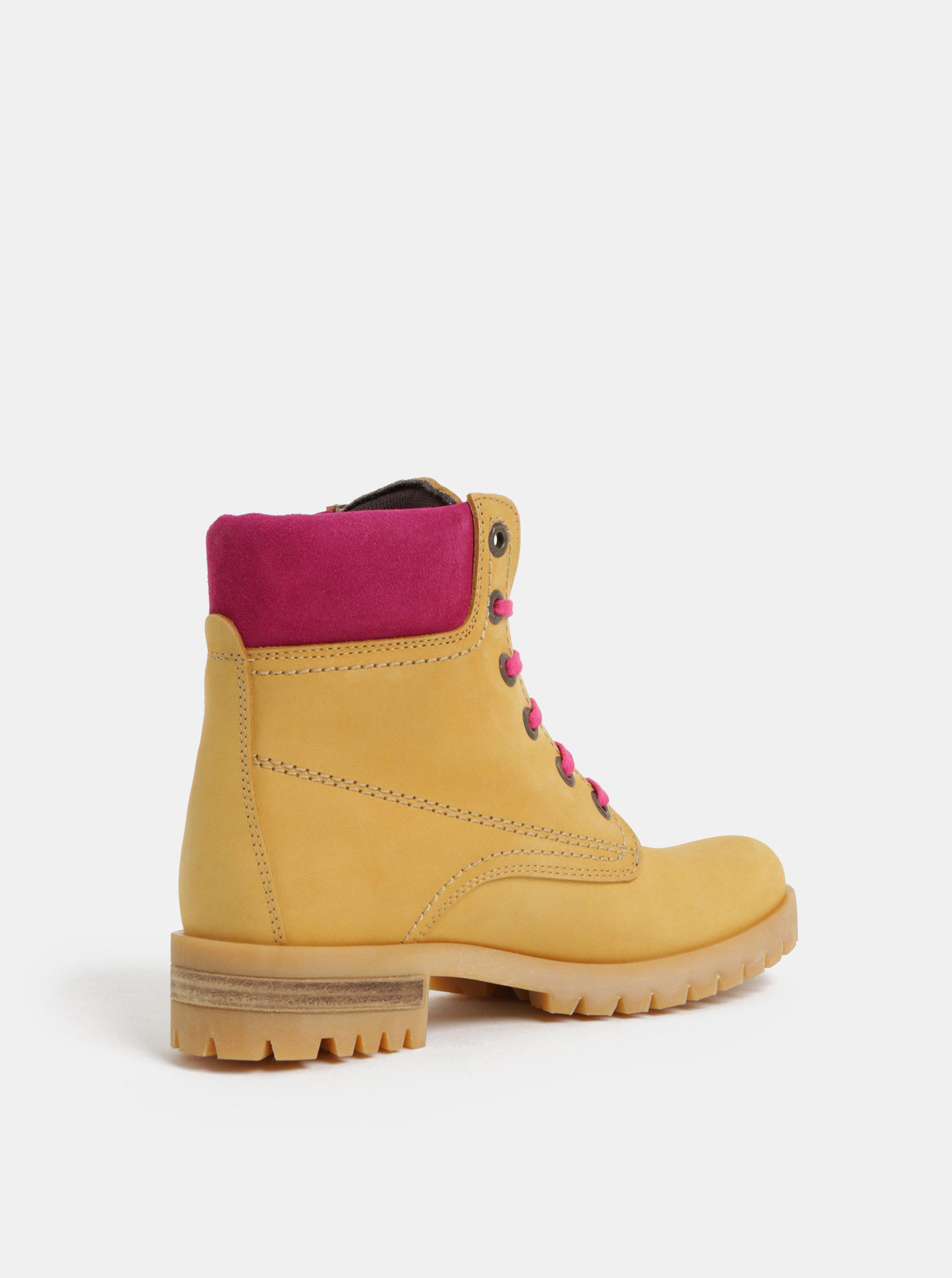 f437549d4ffa Ružovo–hnedé kožené členkové topánky so semišovými detailmi OJJU ...