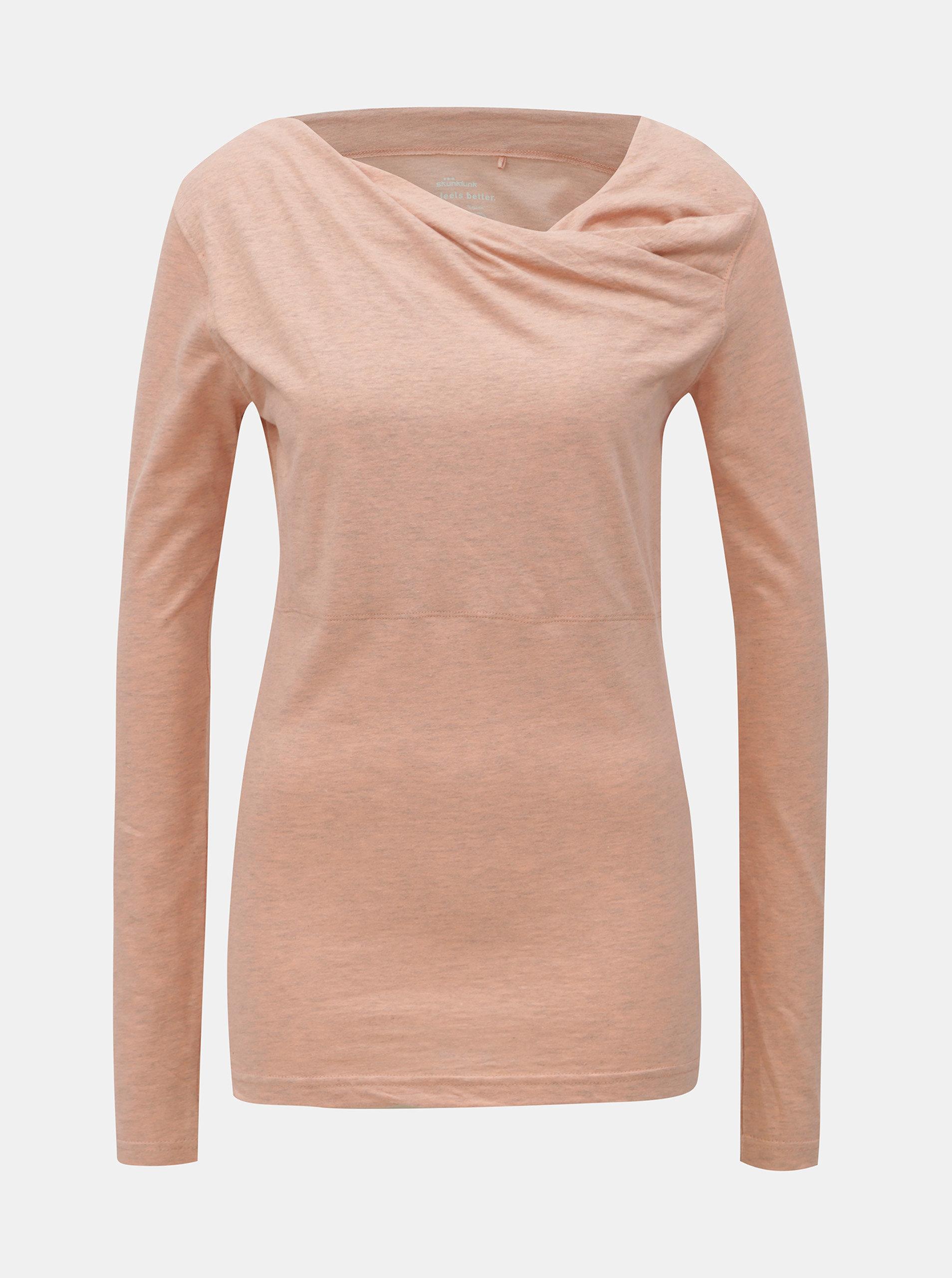 Světle růžové žíhané tričko s dlouhým rukávem SKFK Bi