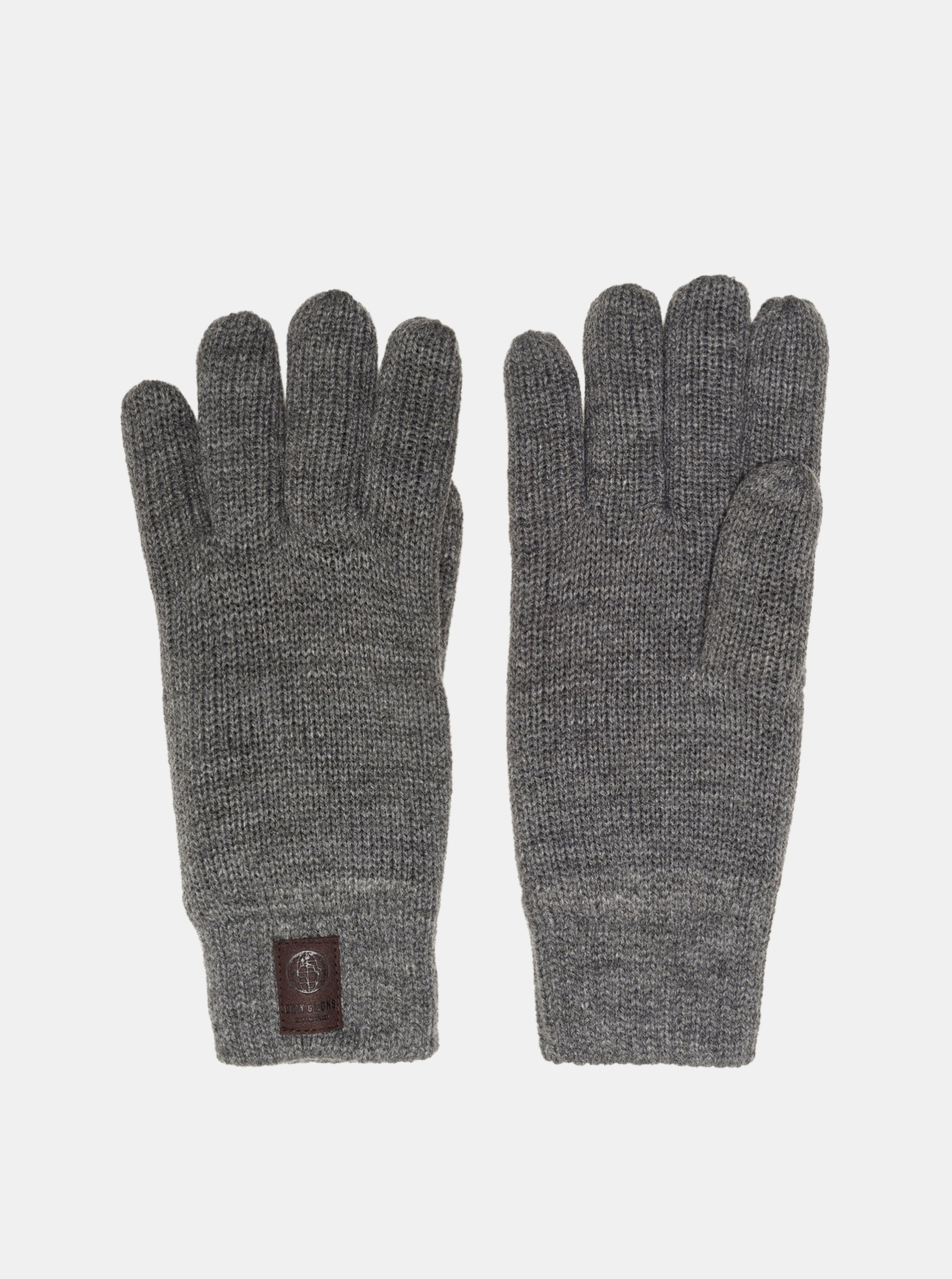 Šedé rukavice s nášivkou ONLY & SONS Clas