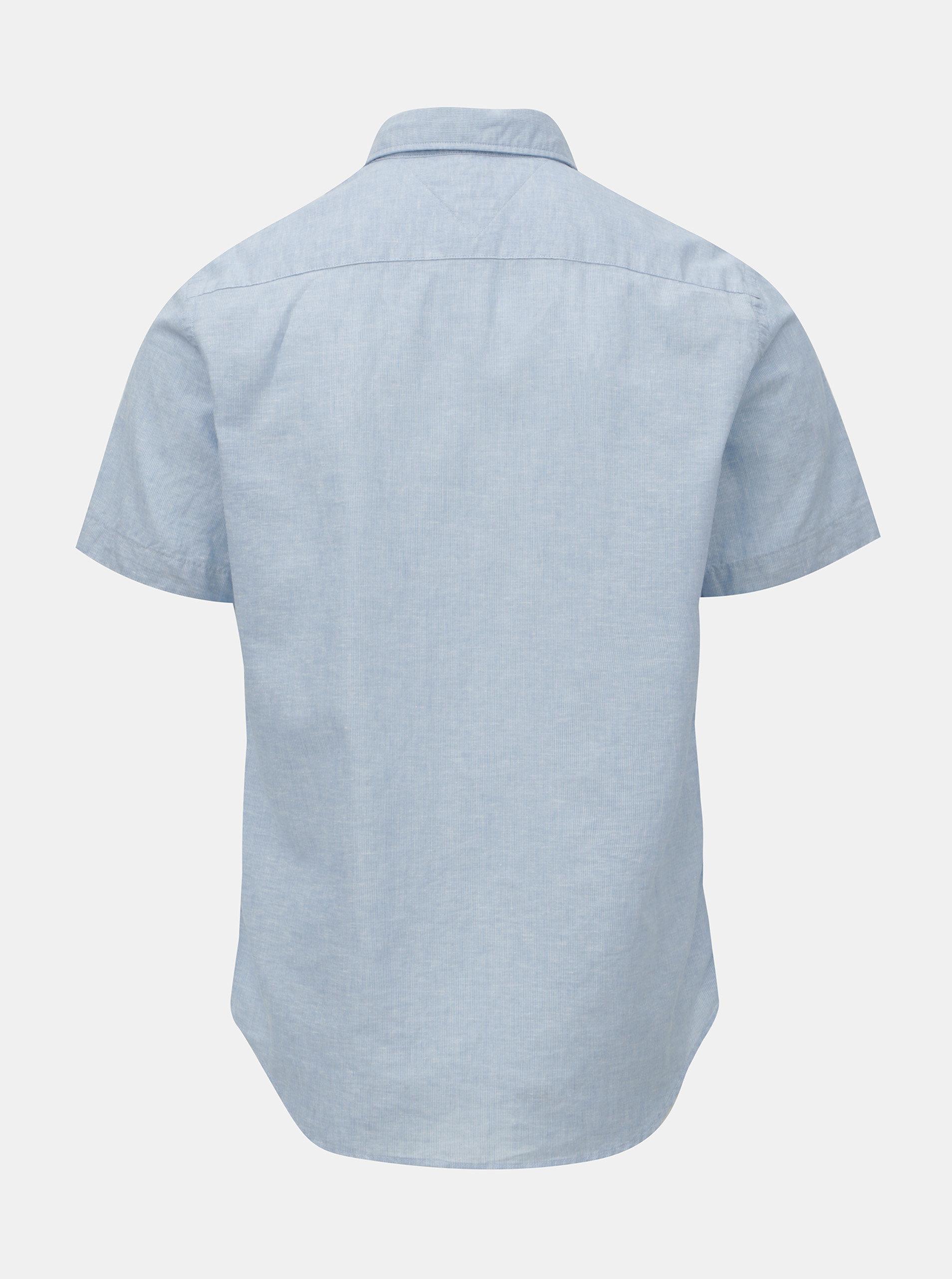 Modrá pánská košile s příměsí lnu Tommy Hilfiger ... b49ee7ec09